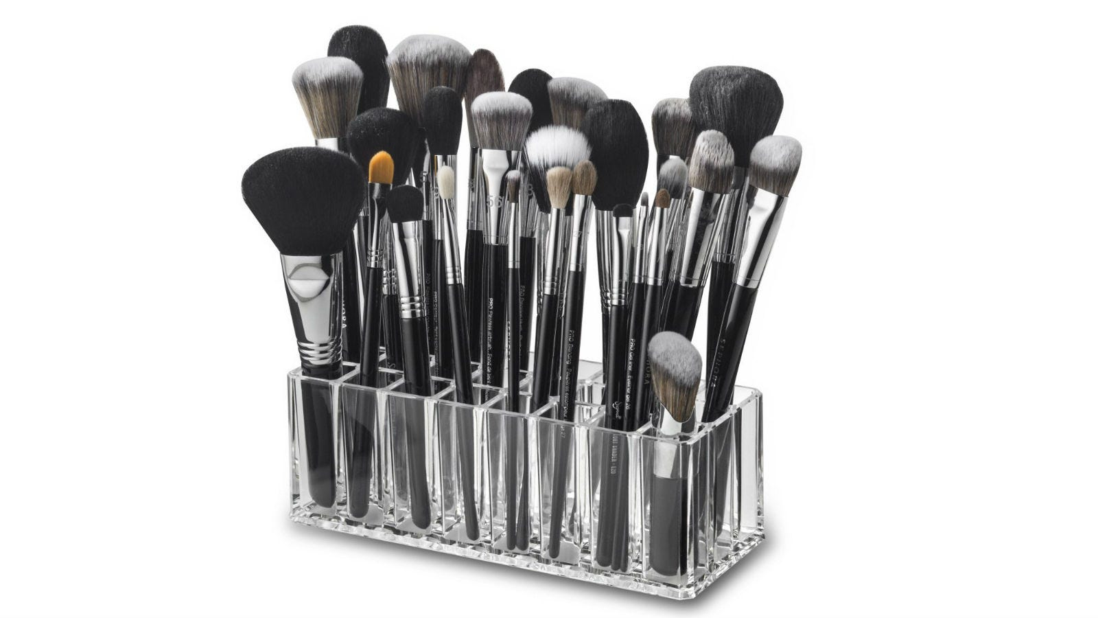 The byAlegory Acrylic Makeup Brush Organizer holding an array of brushes in all shapes and sizes.