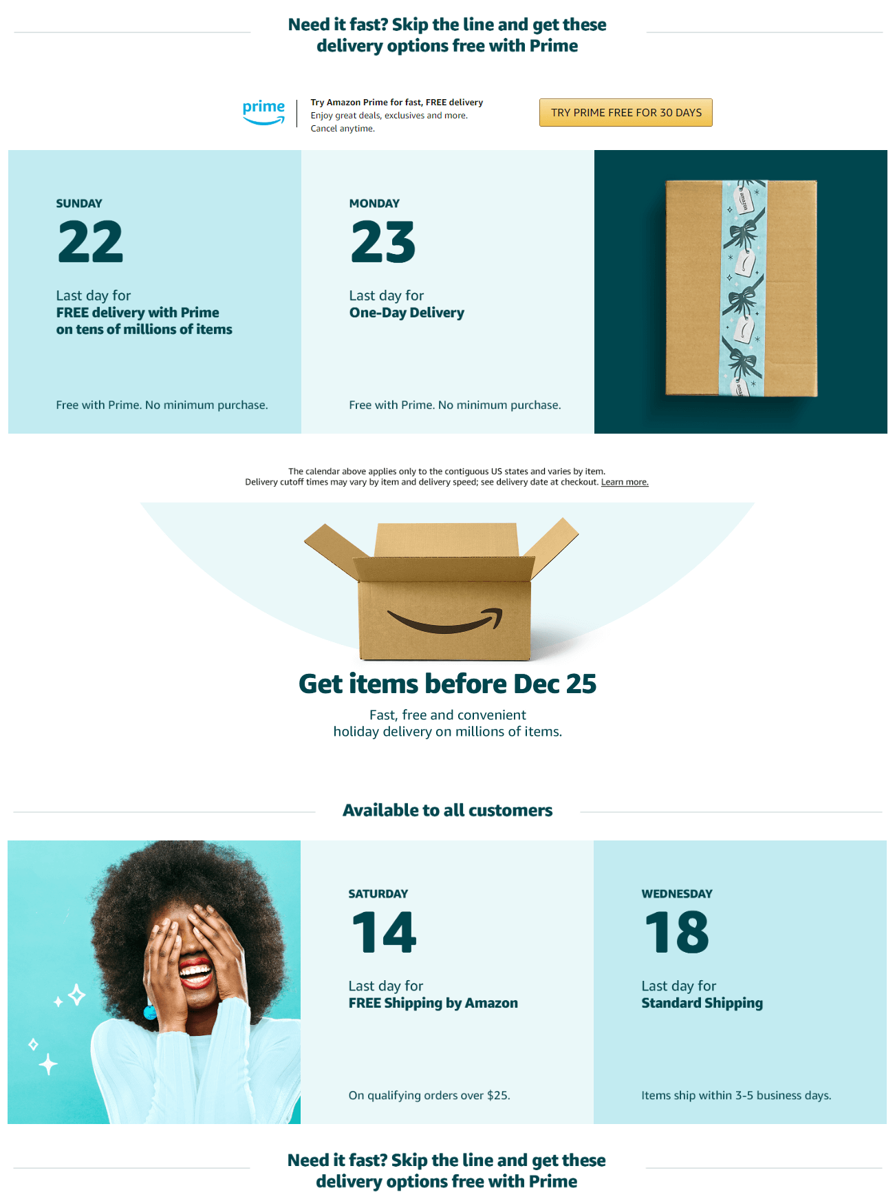 Amazon delivery cutoff dates for Christmas