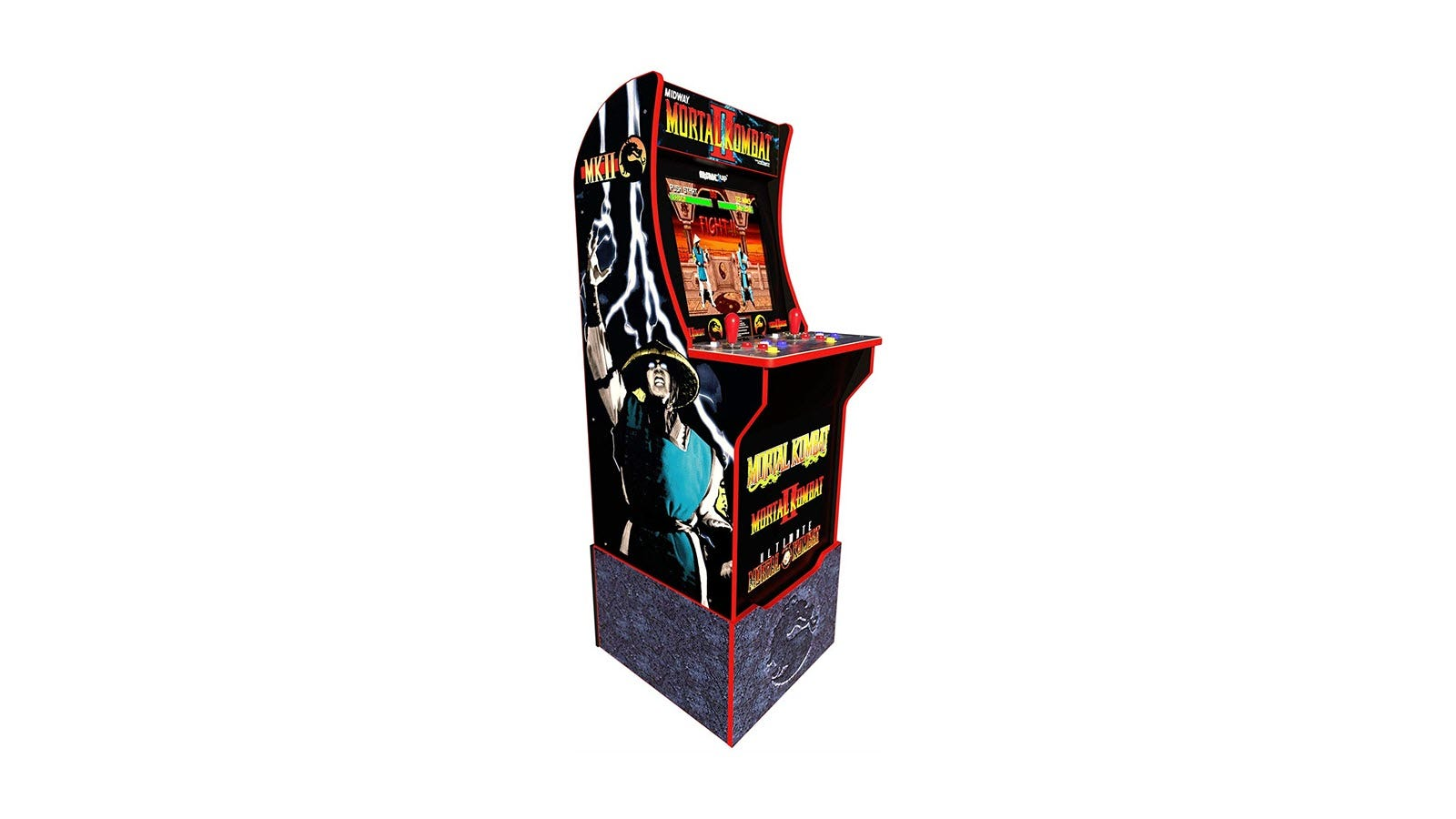 The Mortal Kombat arcade on a custom riser with the Mortal Kombat logo over a stone pattern.