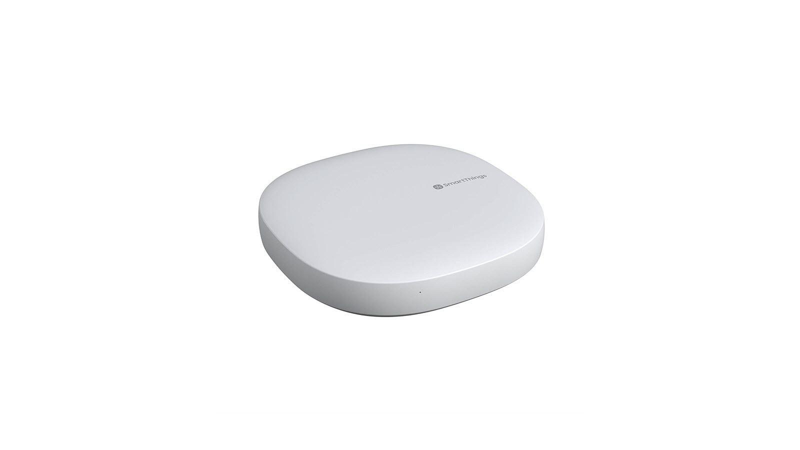 A white Samsung SmartThings hub