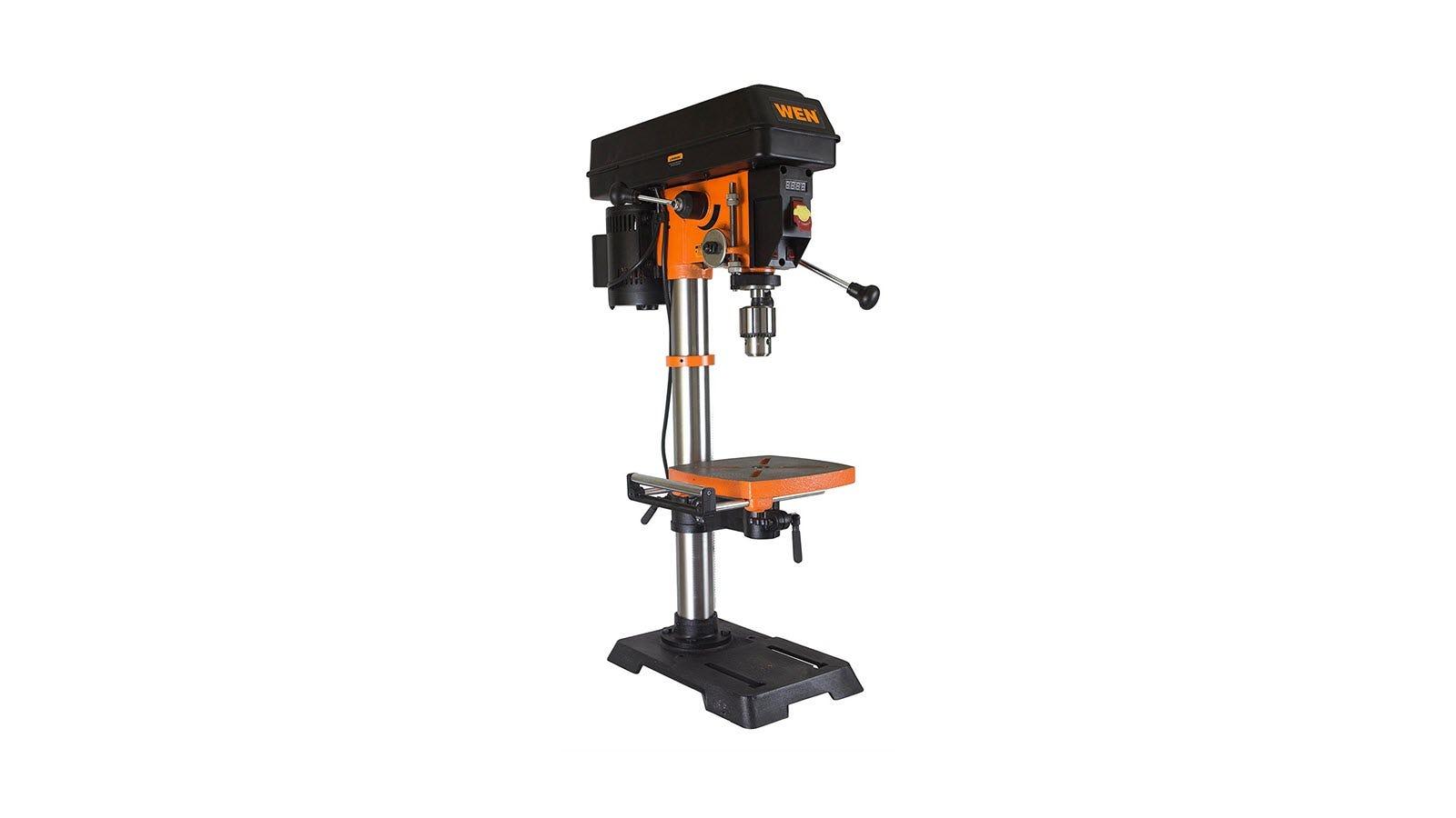 An orange and black WEN 4214 benchtop drill press.