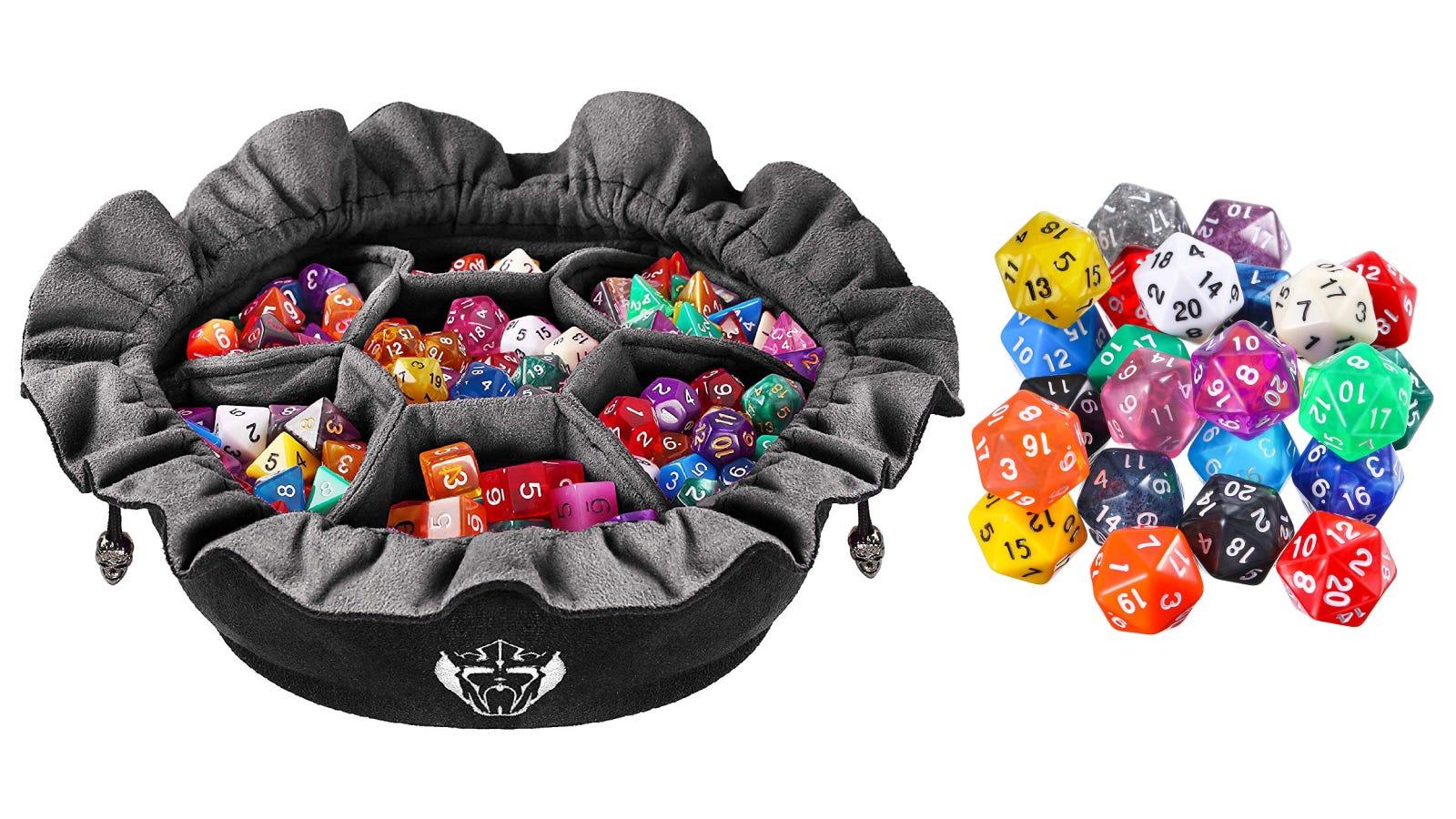 KingCardPro Dice Bag, TecUnite 25 Piece D20 Set