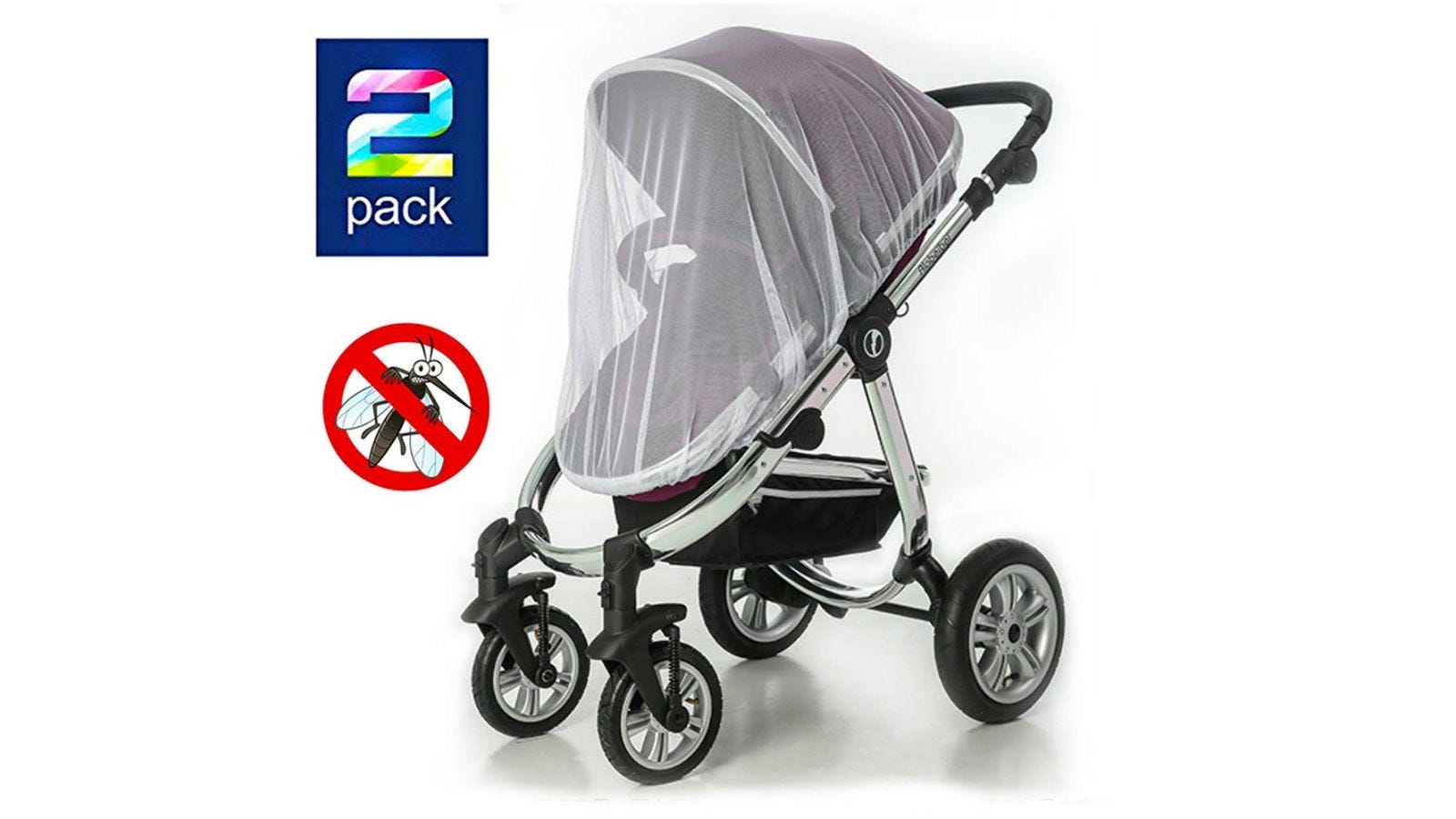 A Sysmie Baby Mosquito Net over a stroller.