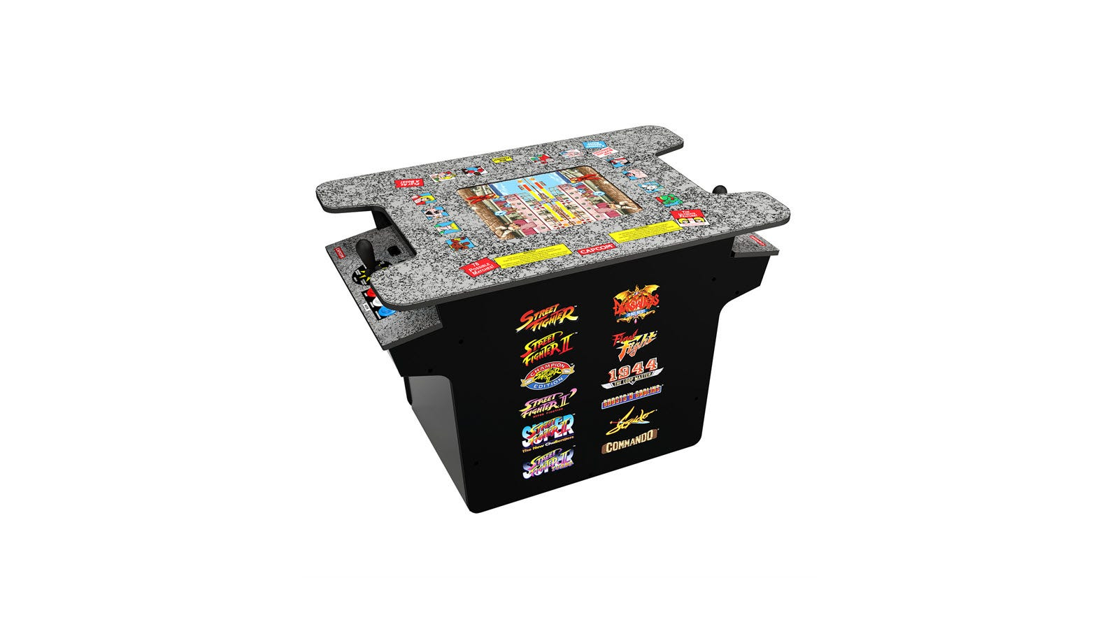 A Street Fighter cocktail table machine, featuring 12 games listed on the side.