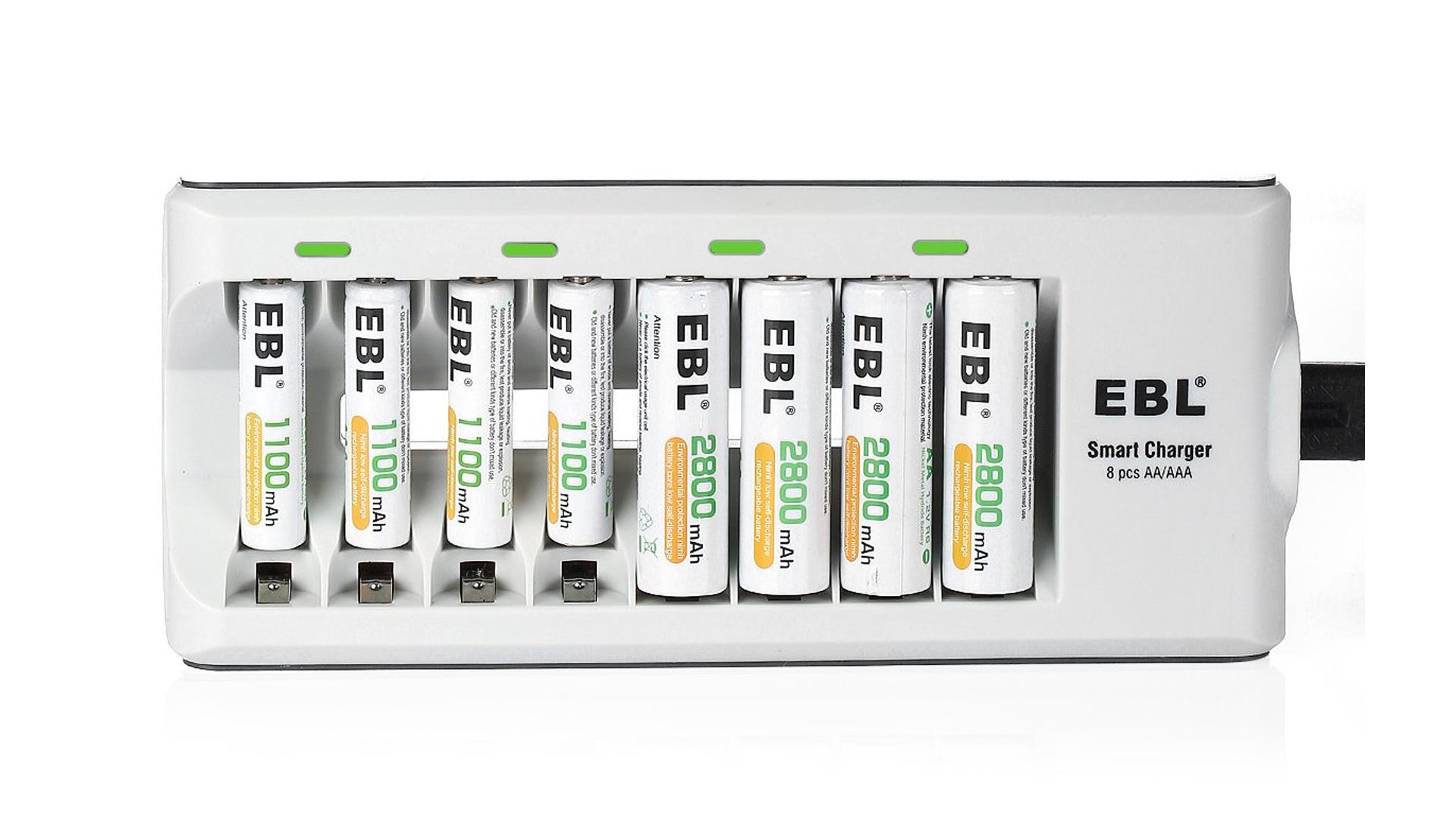 The EBL 8-bay AA and AAA charging bay.