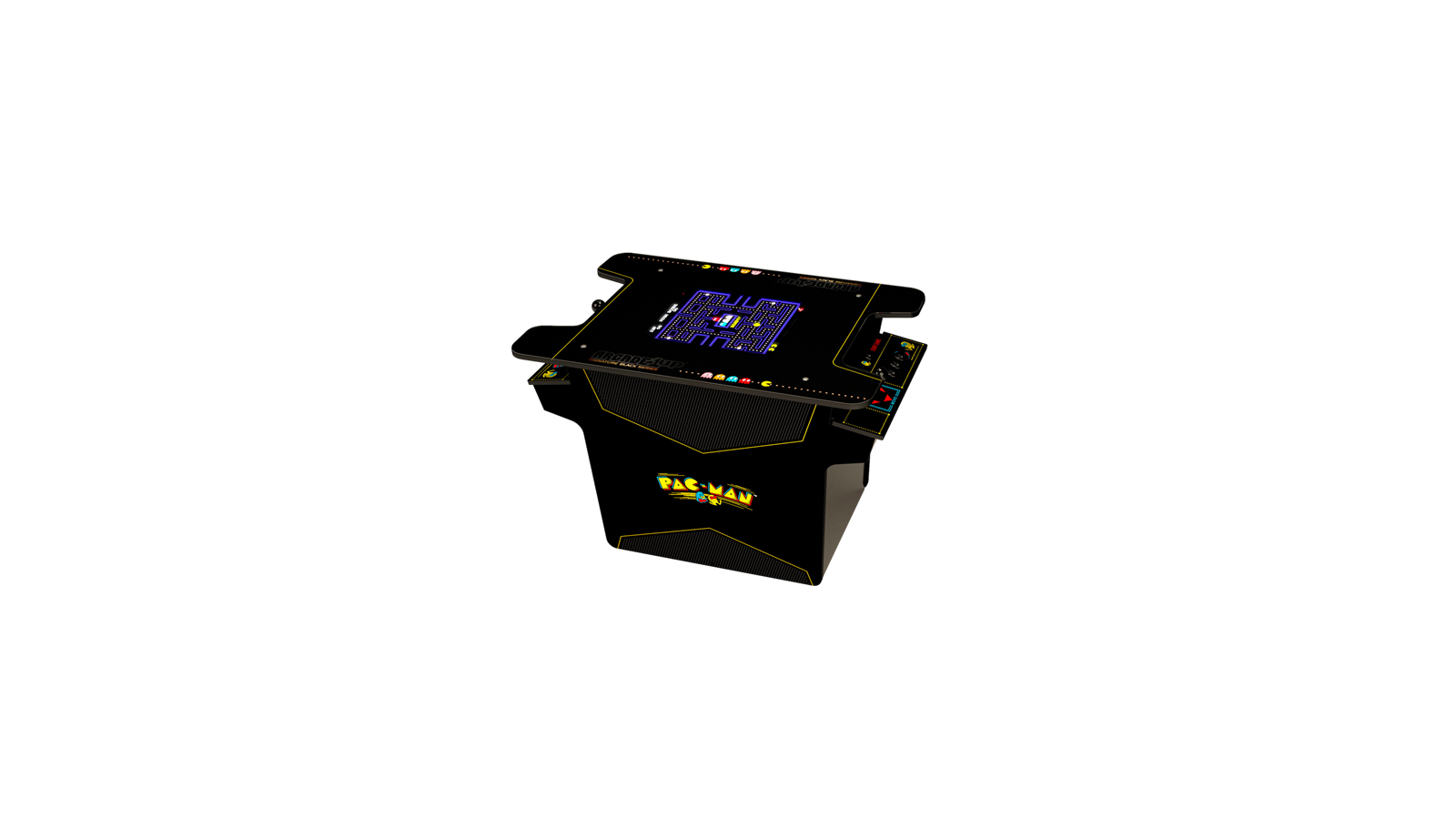 A cocktail table machine featuring Pac-Man and other games.
