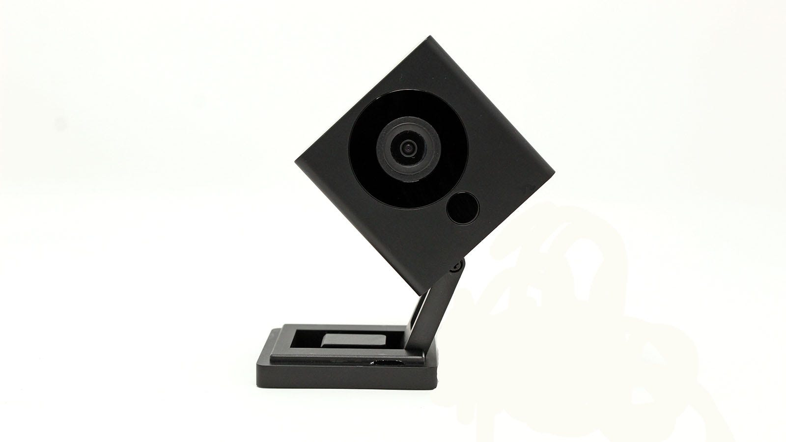A black Wyze camera with a tilted head.