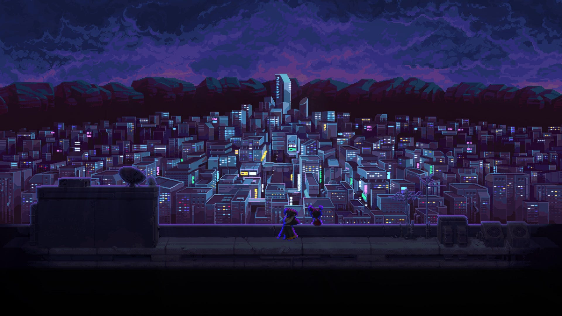 A cityscape from one of the game's many story bits.