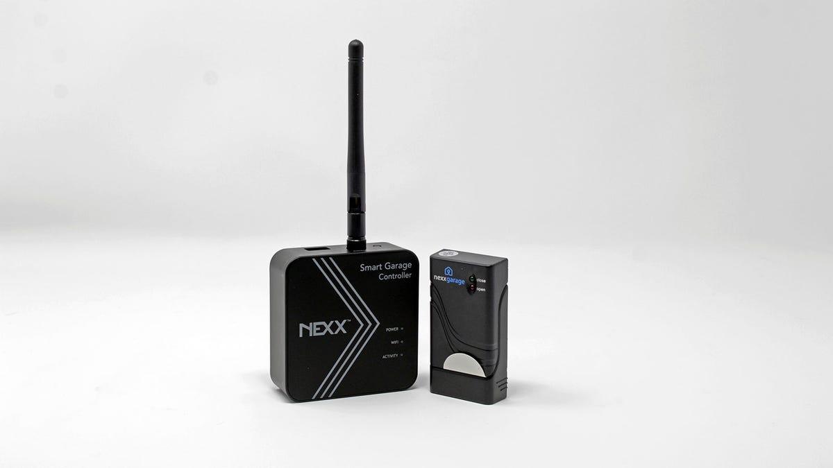 The Nexx smart garage controller and tilt sensor side by side.