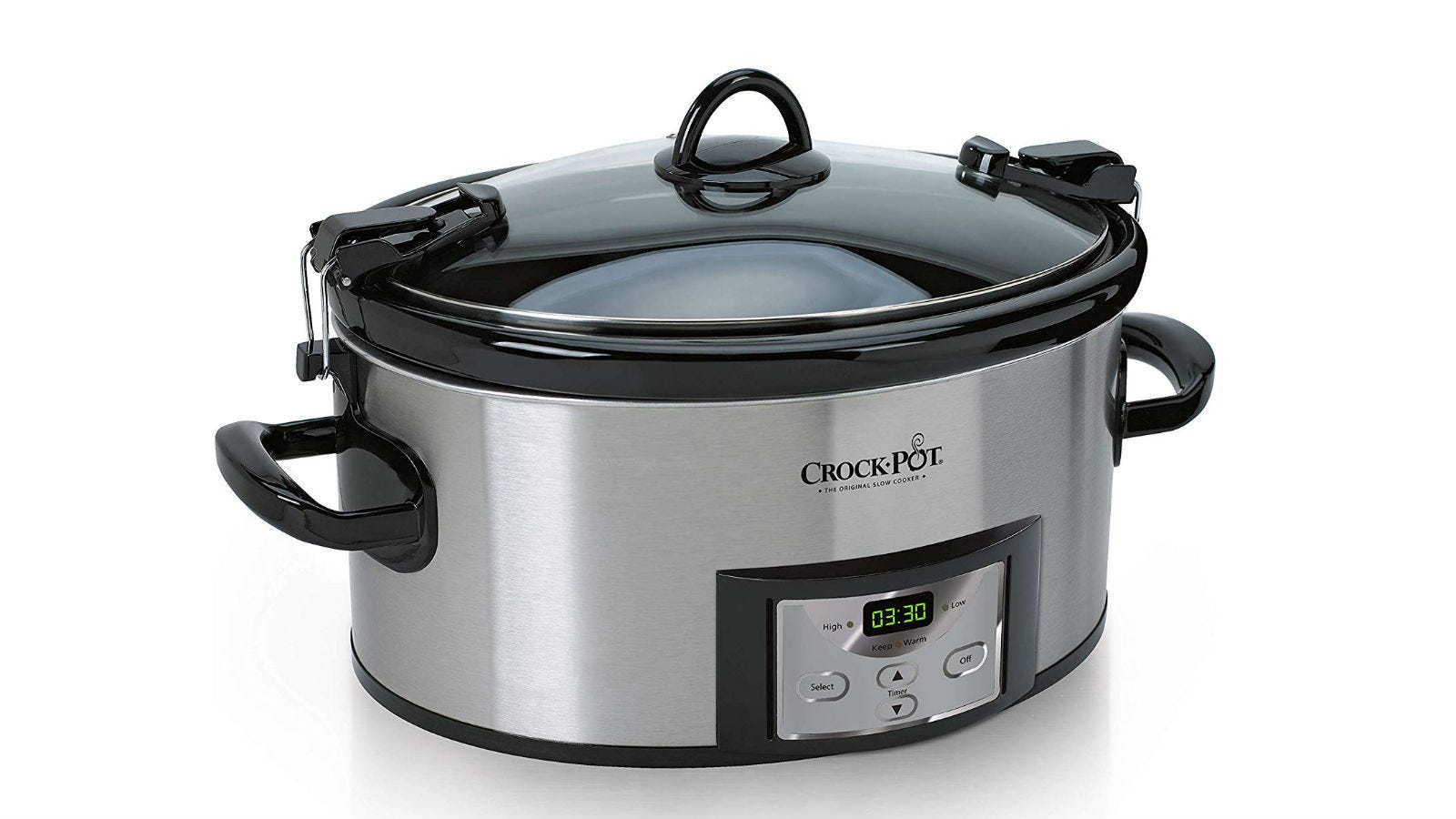 The Crock-Pot 6-Quart Cook and Carry Programmable Slow Cooker with the lid on.