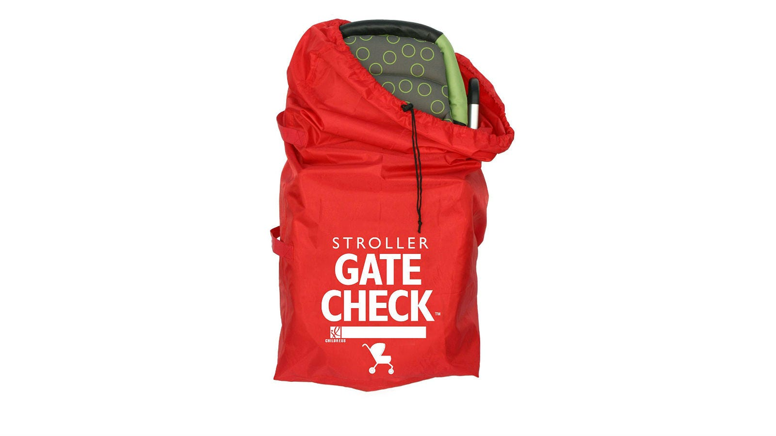 The top of a stroller peaking out of the J.L Childress Gate Check Stroller Bag.