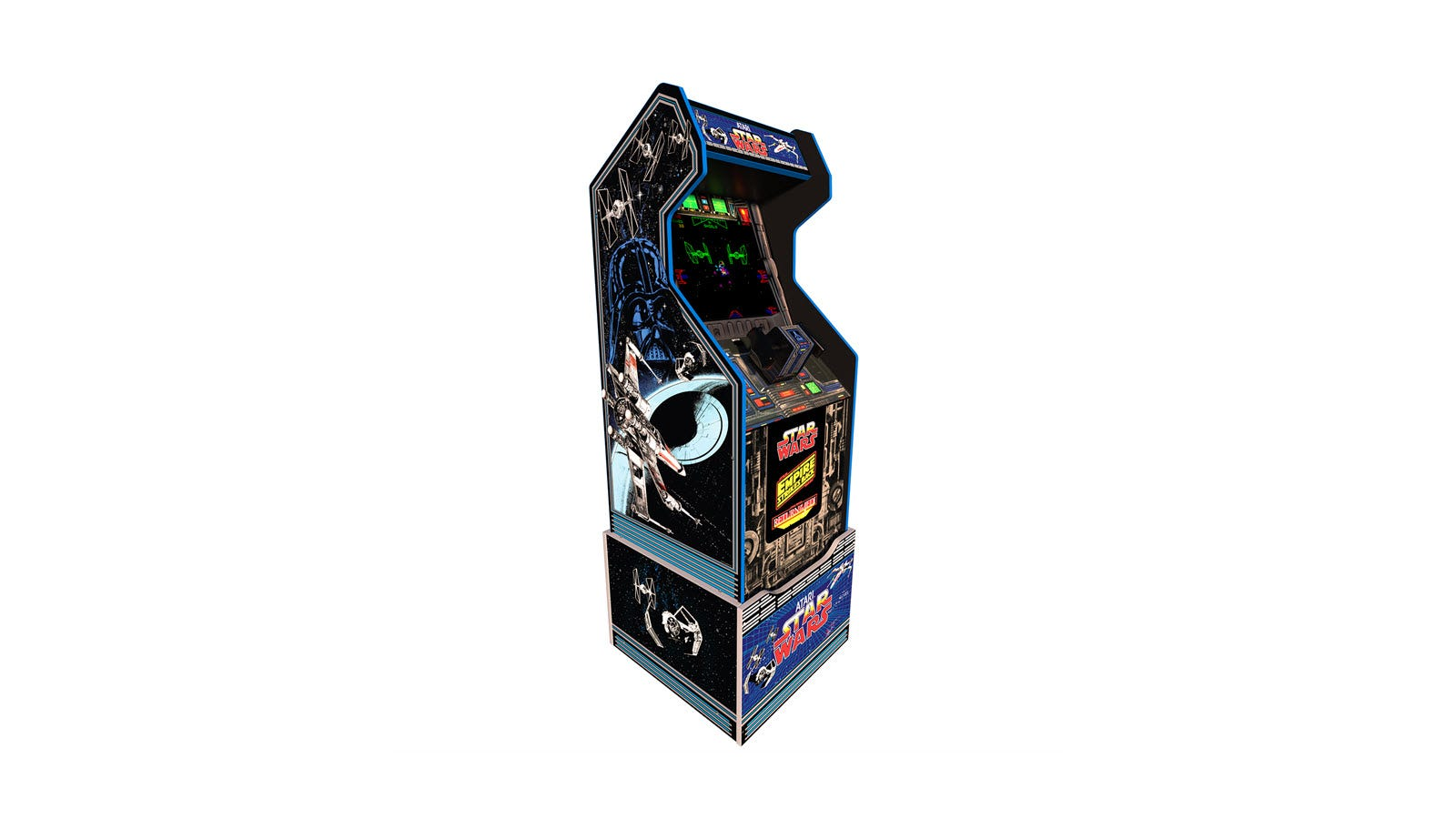 The Star Wars arcade machine, complete with custom riser and flight yoke.