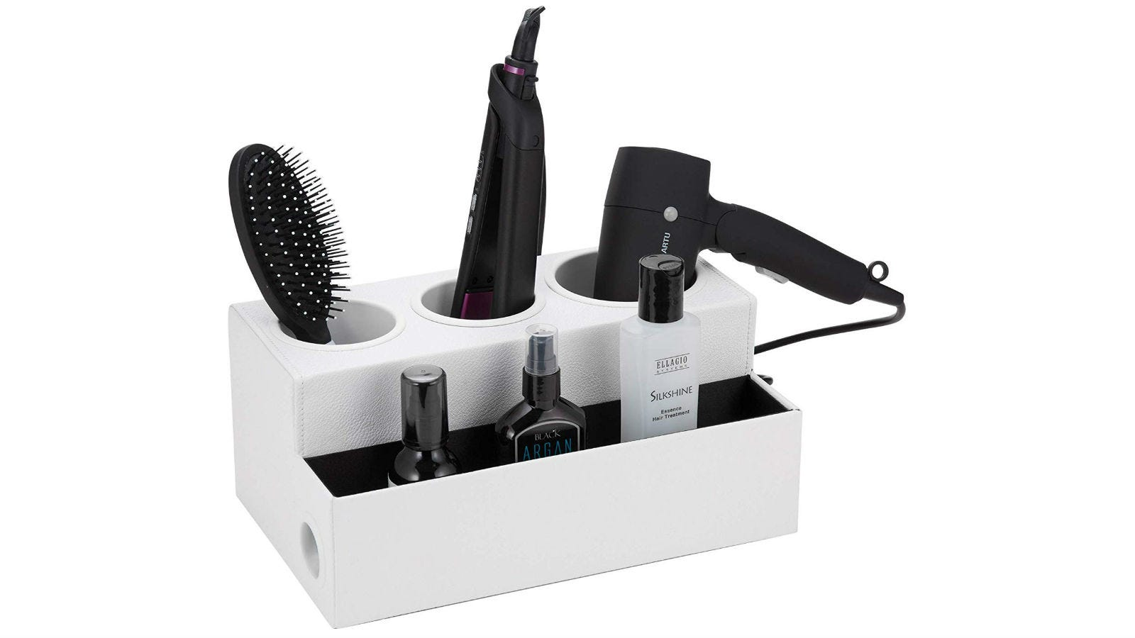 The JackCubeDesign Hair Dryer Organizer holding a hairbrush, clippers, a hair dryer, and three bottles of styling products.