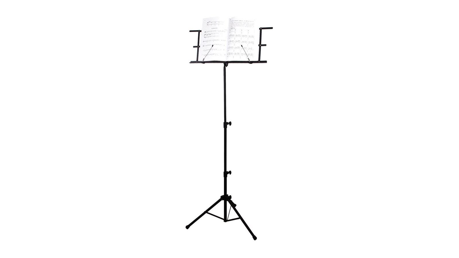 A black telescoping music stand with sheet music.