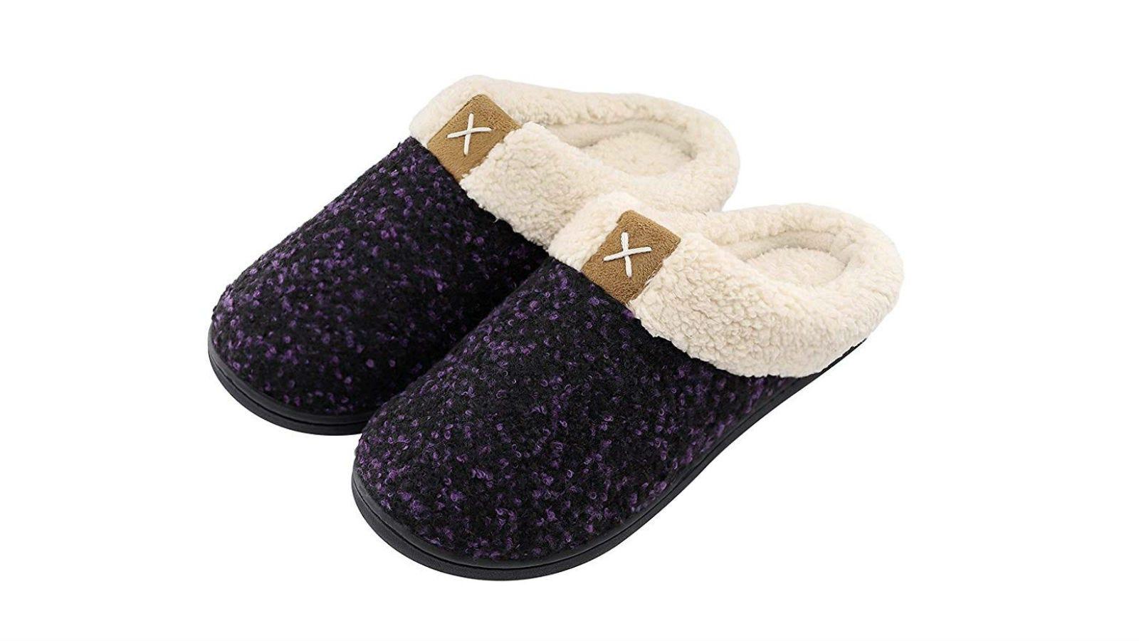 A pair of Ultraideas Cozy Memory Foam Slippers in purple.