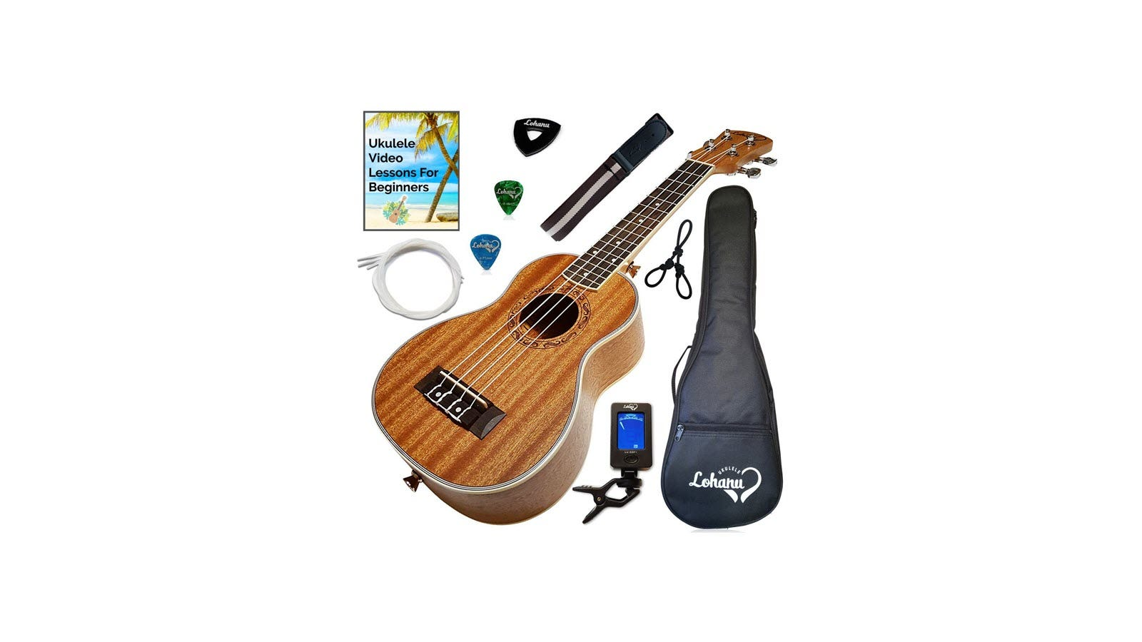 A Lohanu Ukulele, with case, straps, picks, tuner, strings, and video lessons.