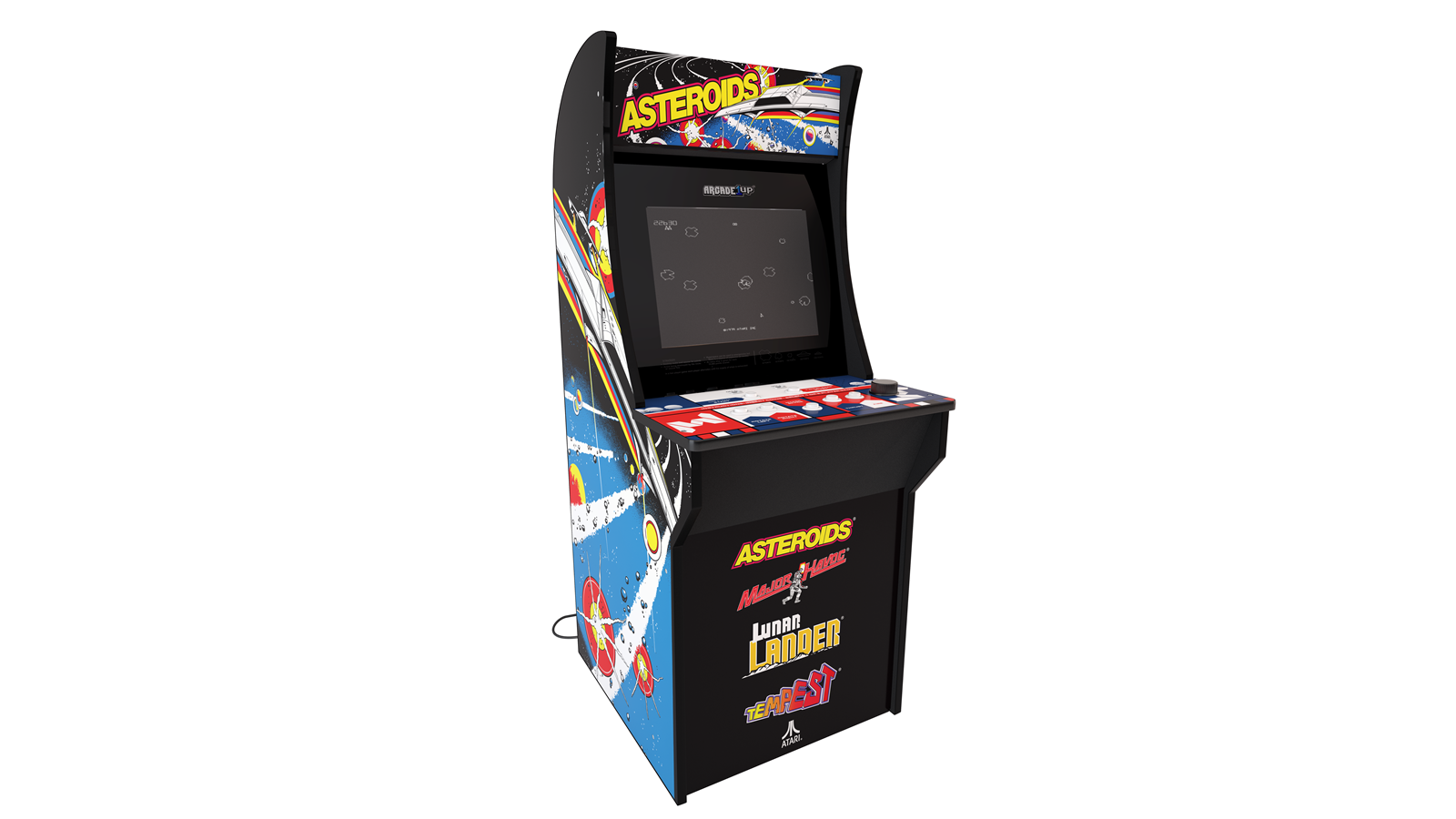 The Asteroid arcade with a spinner dial