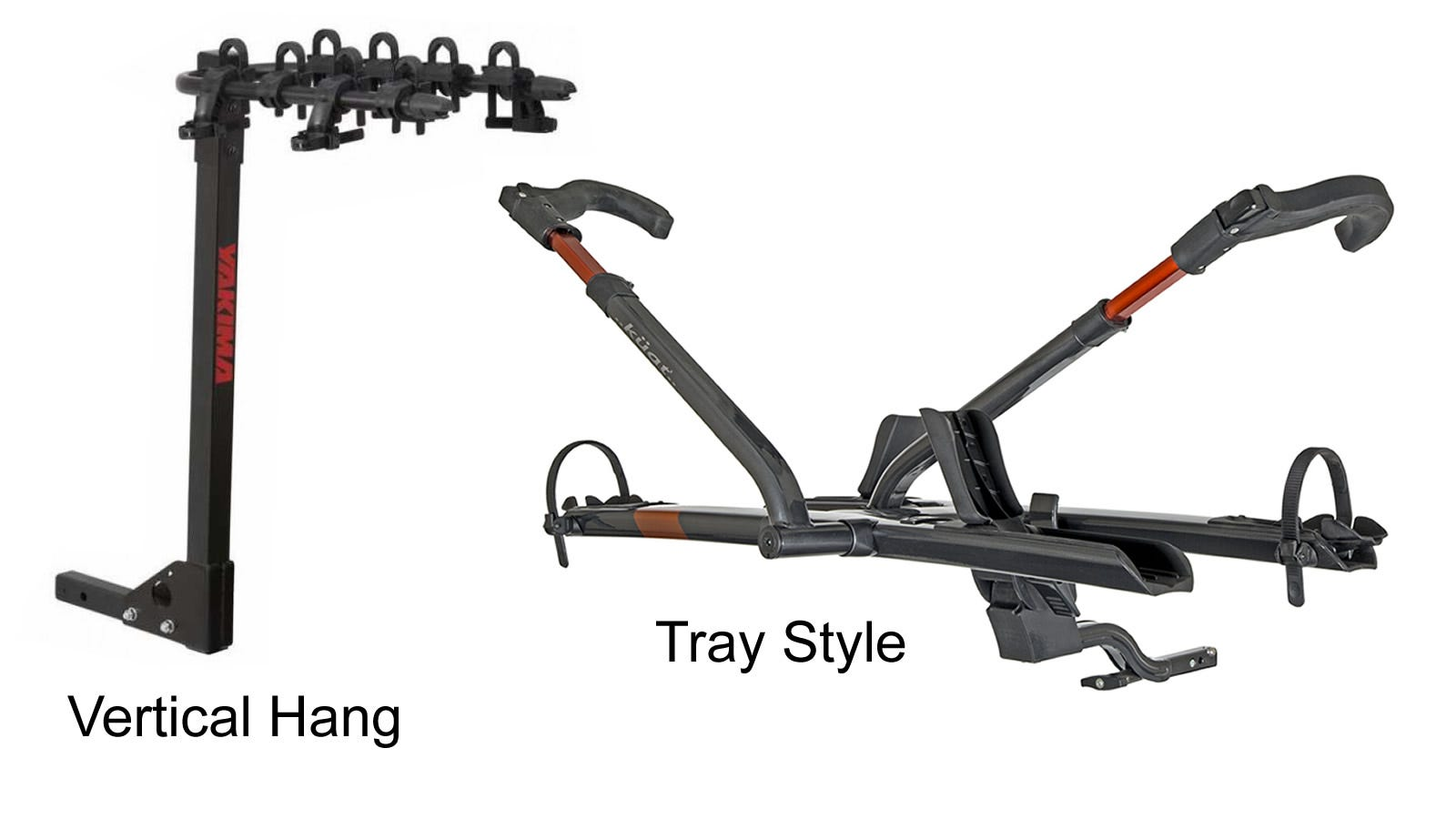 vertical hang and tray mount hitch mount car bike racks