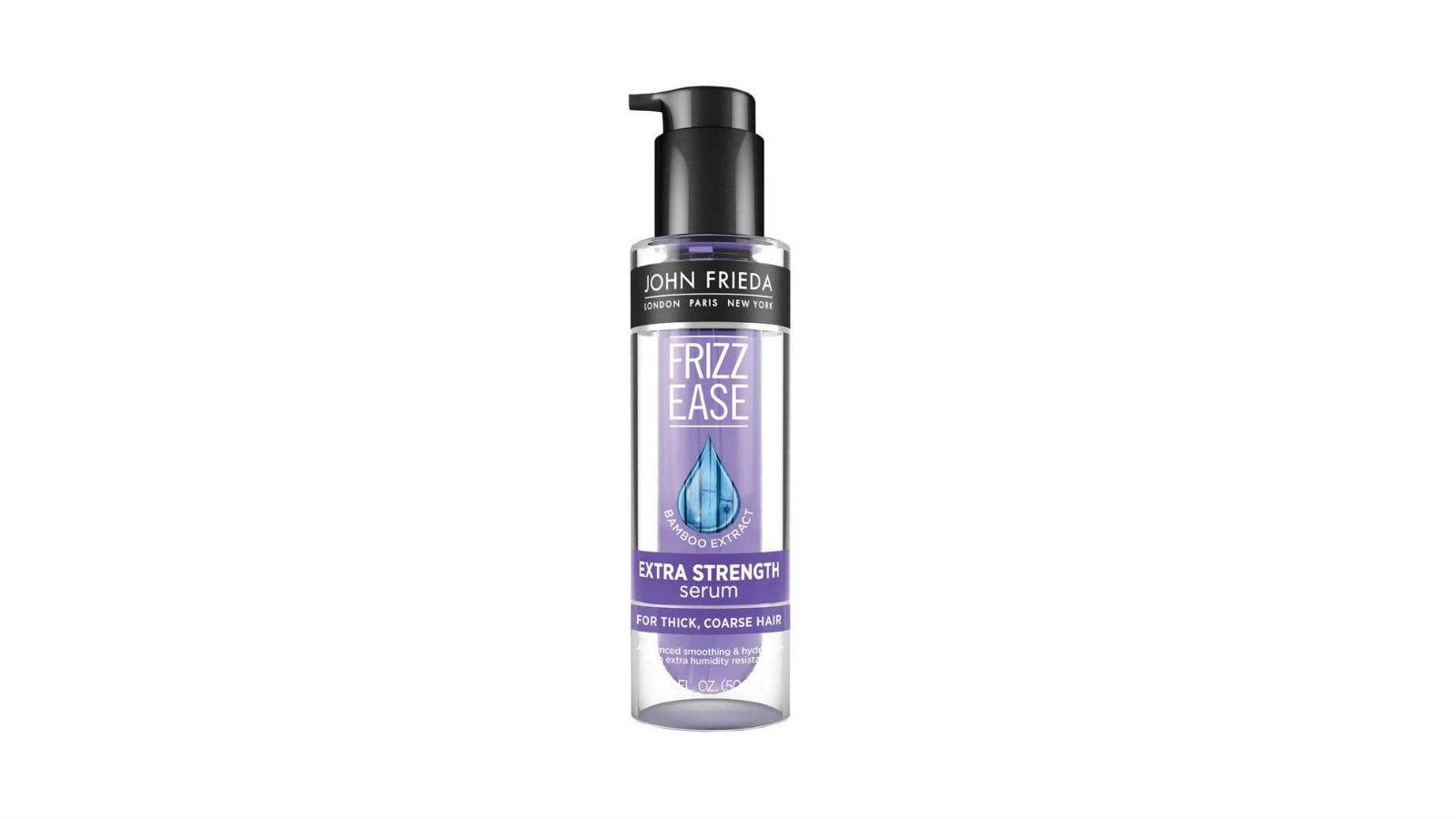 A pump bottle of John Frieda Frizz Ease Extra Strength Serum.