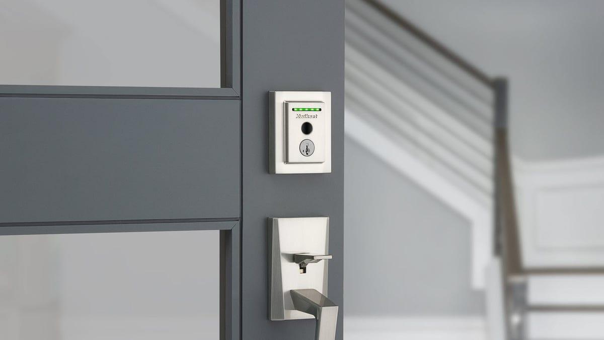 A Satin Kwikset Halo Lock with fingerprint sensor