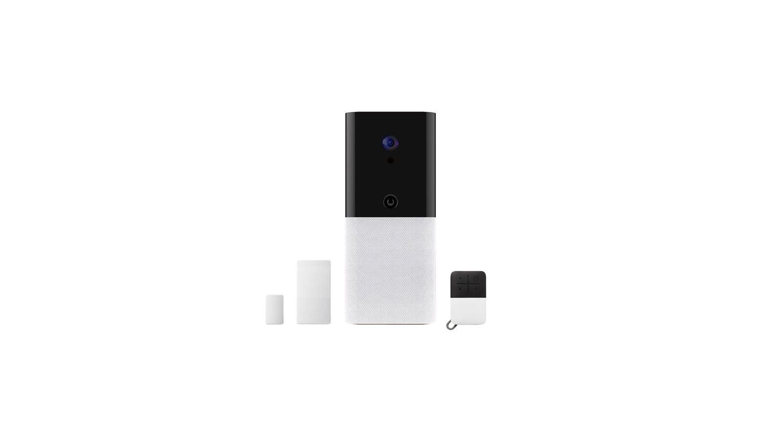 An Abode iota hub with keyfob, and contact sensor.