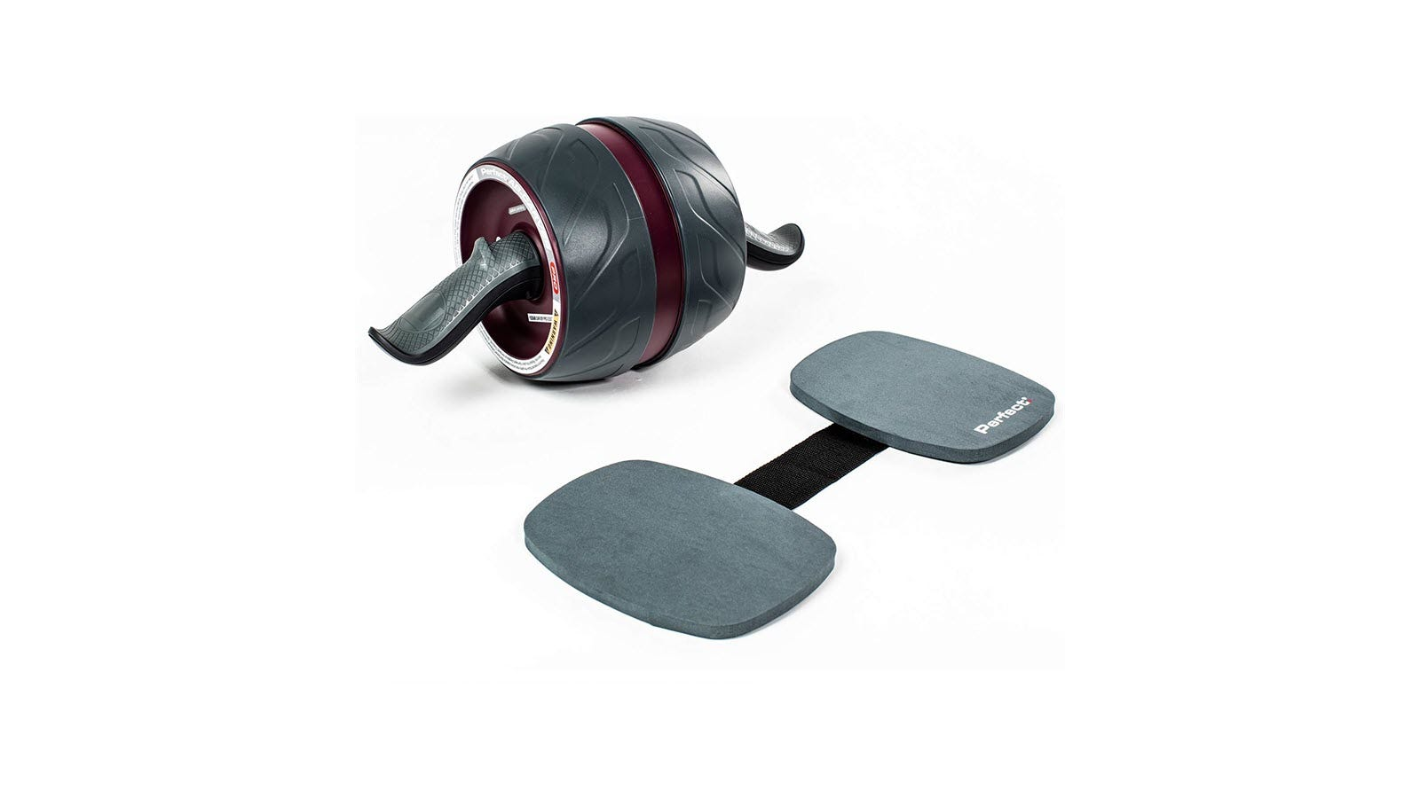The Perfect Fitness Ab Carver Pro Roller and two kneepads connected with a strap.