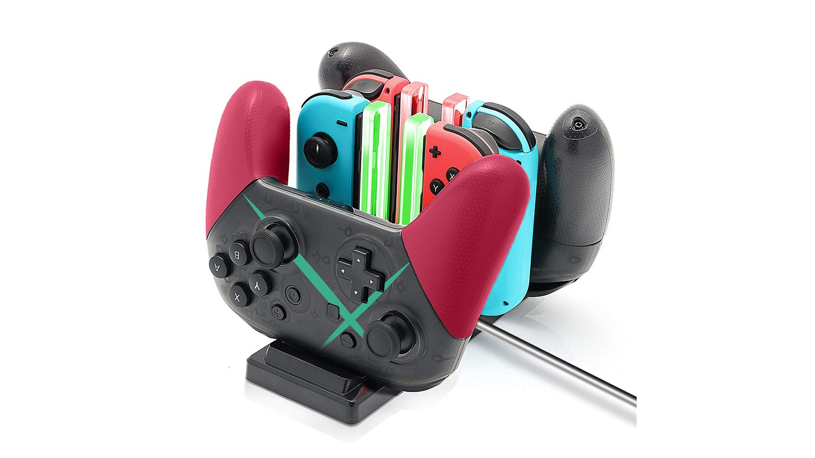 The FunDirect Controller Charging Dock with six controllers charging.