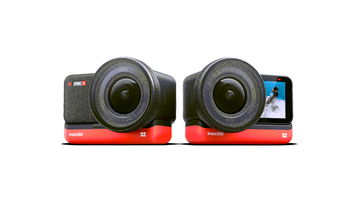 The Insta360 One R camera with red battery base.