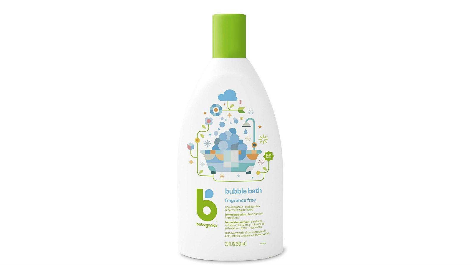 A bottle of BabyGanics Bubble Bath.