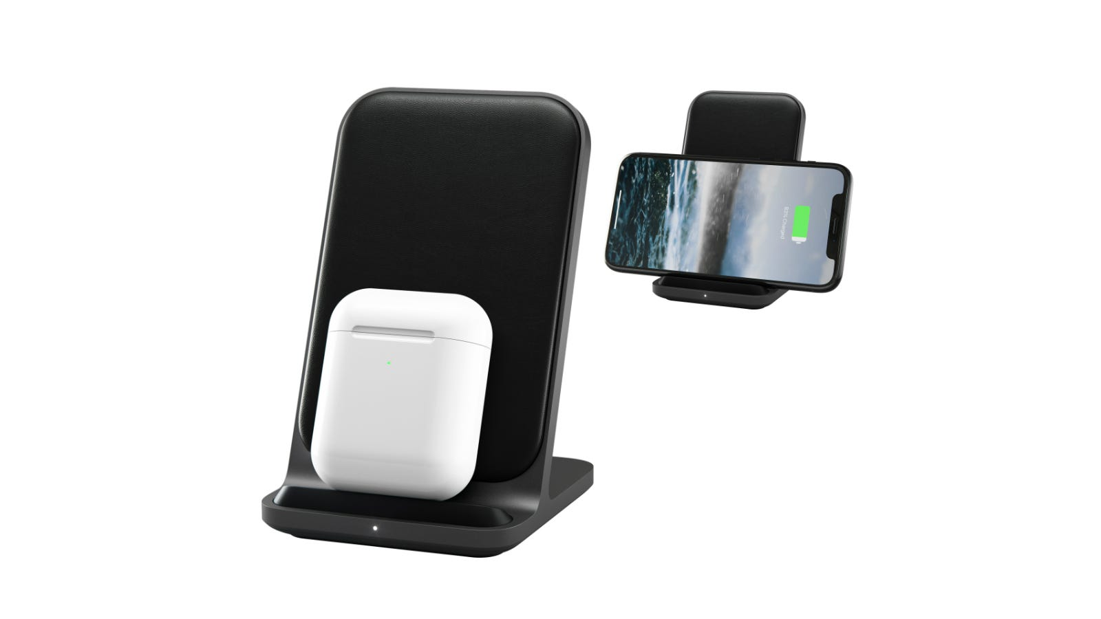 Nomad Base Station Stand charging AirPods and an iPhone