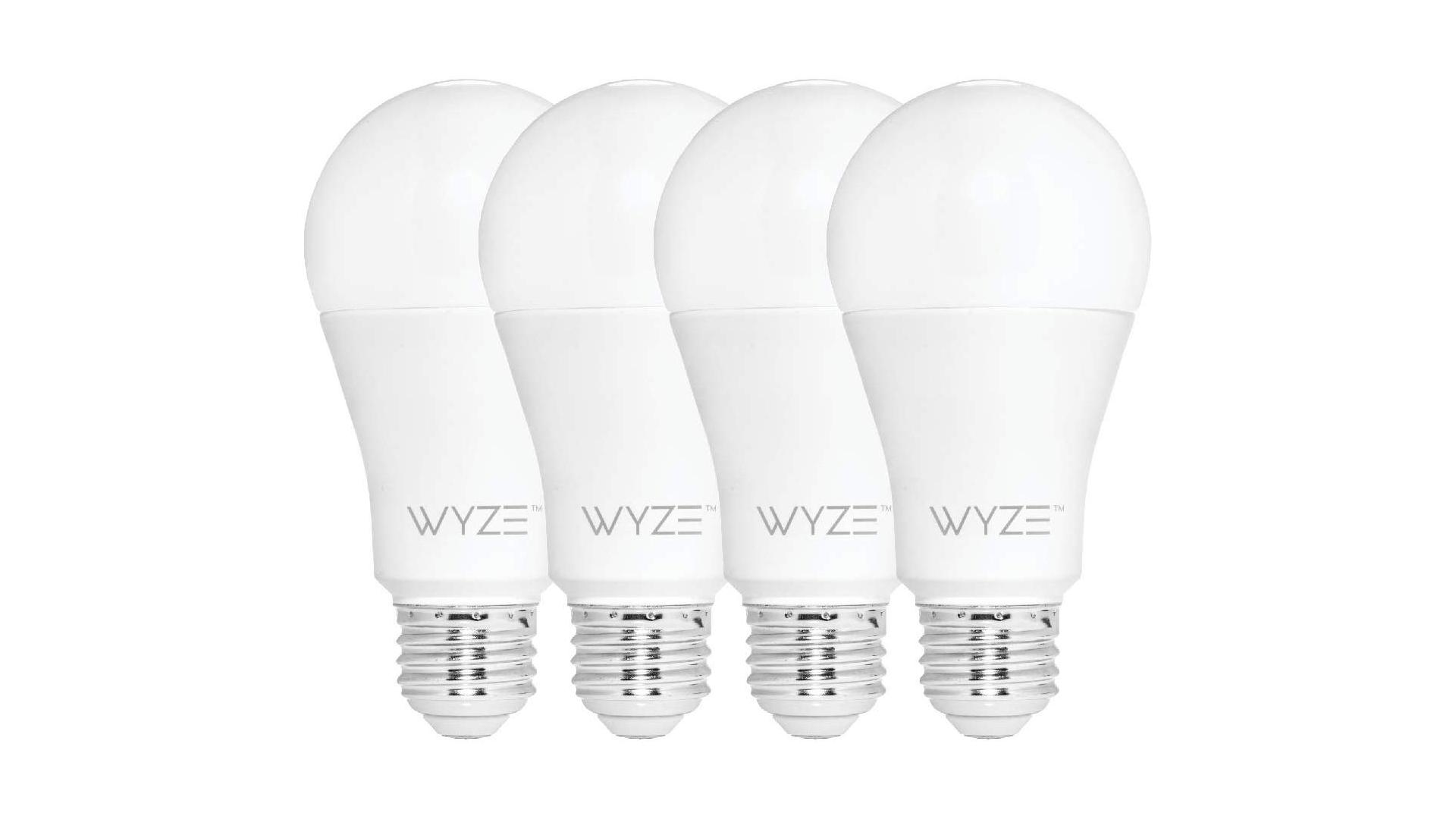 A set of four Wyze smart bulbs.