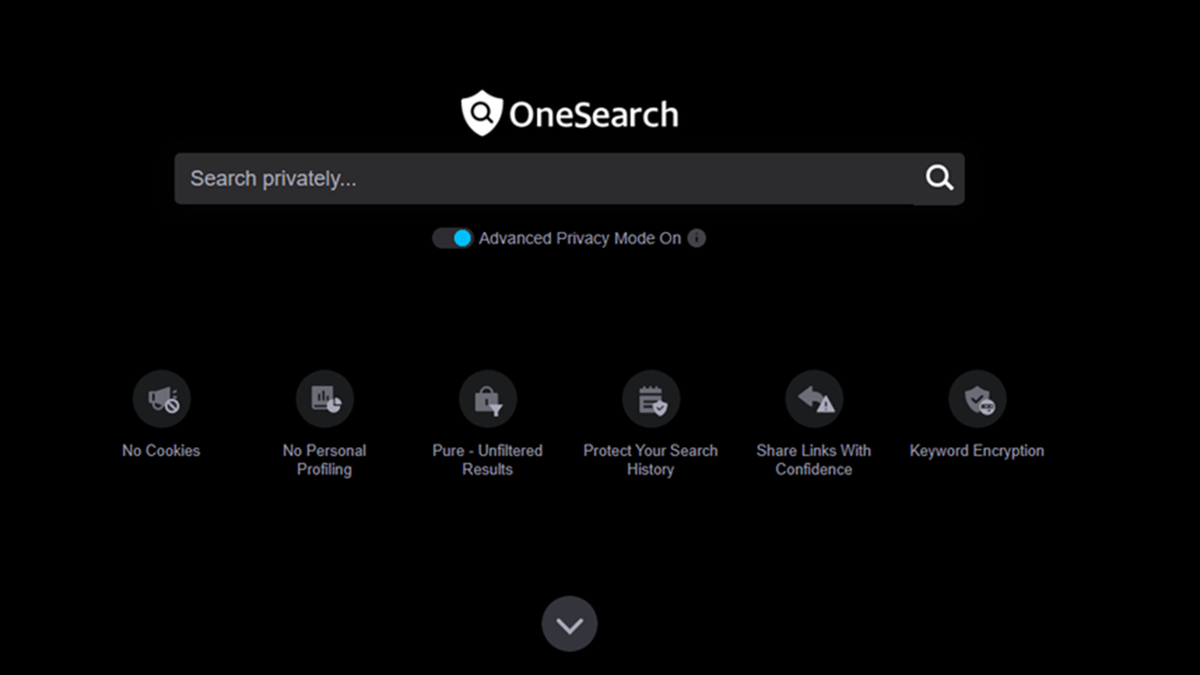 The OneSearch search page, with a dark black background.
