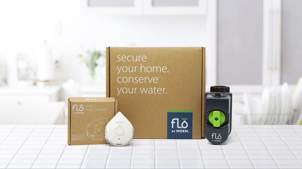 A Flo Smart Water sensor next  to a Flo by Moen water monitor and cardboard boxes.