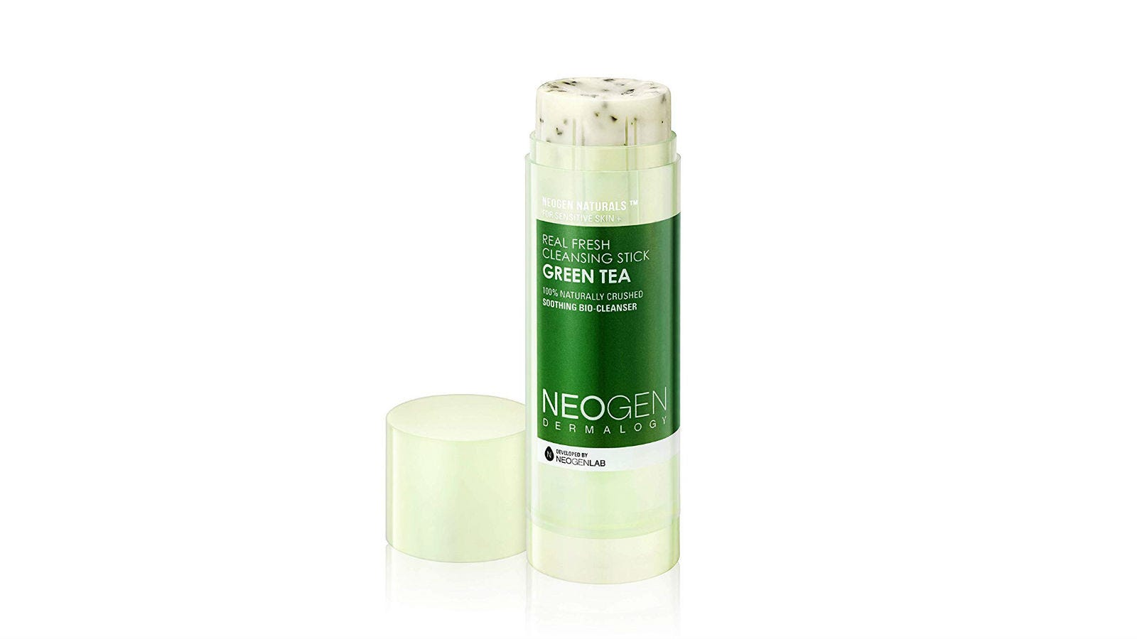 A bottle of Neogen Dermalogy Real Fresh Cleansing Stick in Green Tea with the cap off.