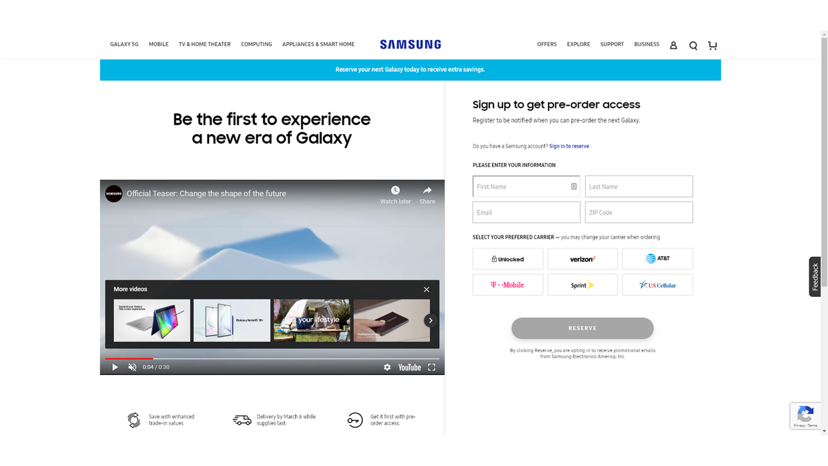 A Samsung webpage, featuring registration details for upcoming Galaxy phones.