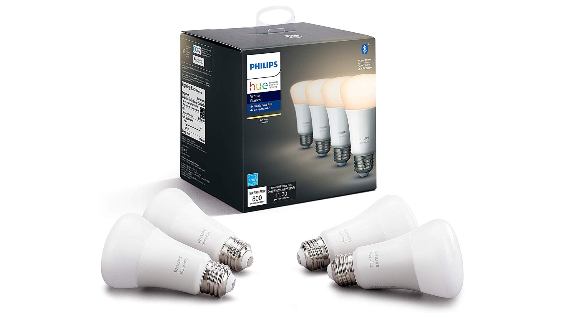 A set of Philips Hue bulbs.