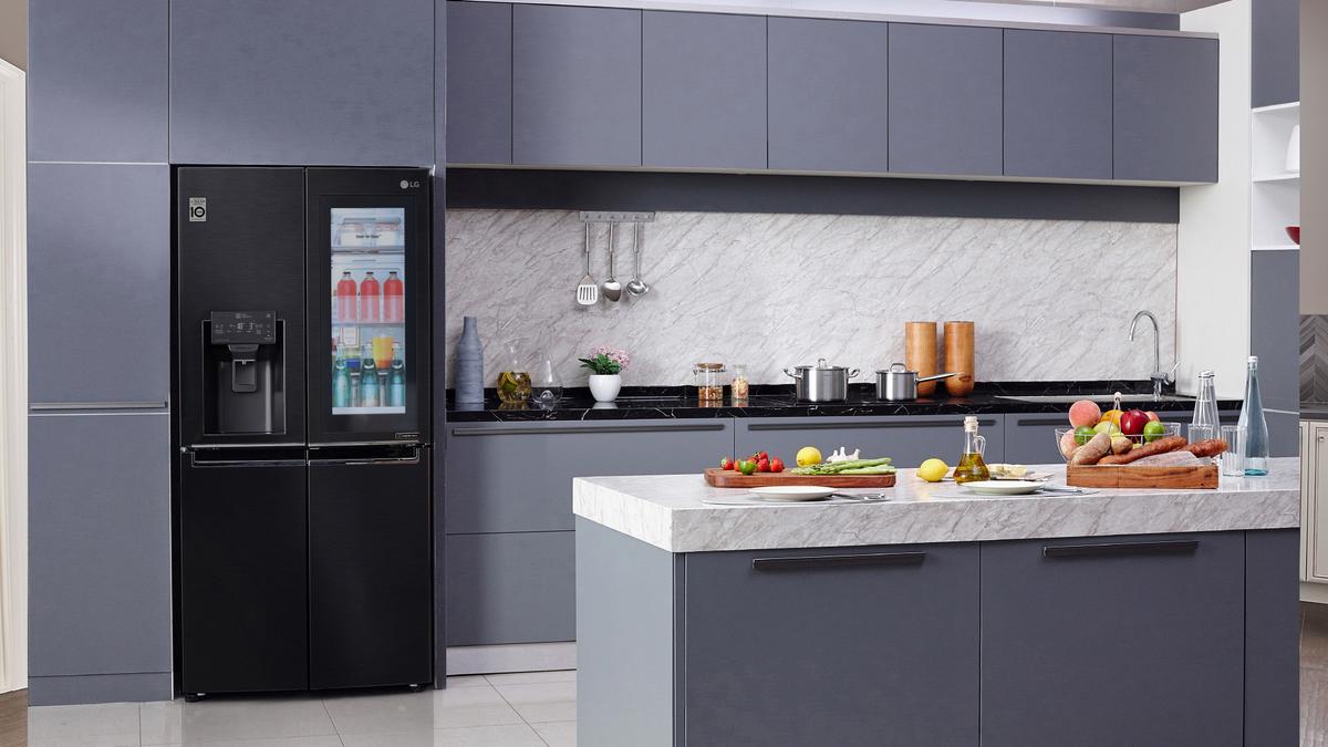 A photo of LG's slimmed-down InstaView smart fridge.