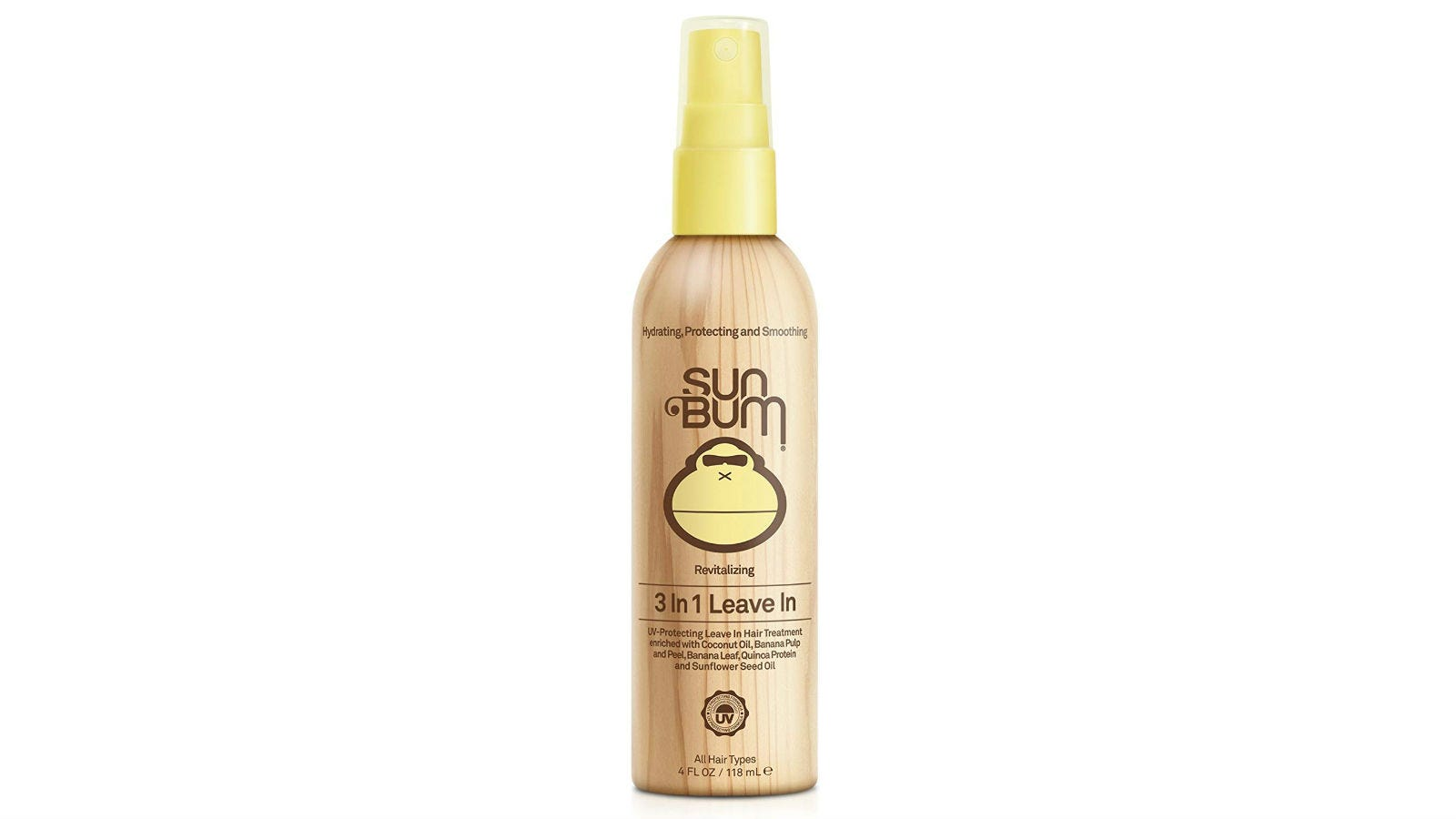 A spray bottle of Sun Bum Beach Formula 3-in-1 Leave-In Hair Conditioner Spray.