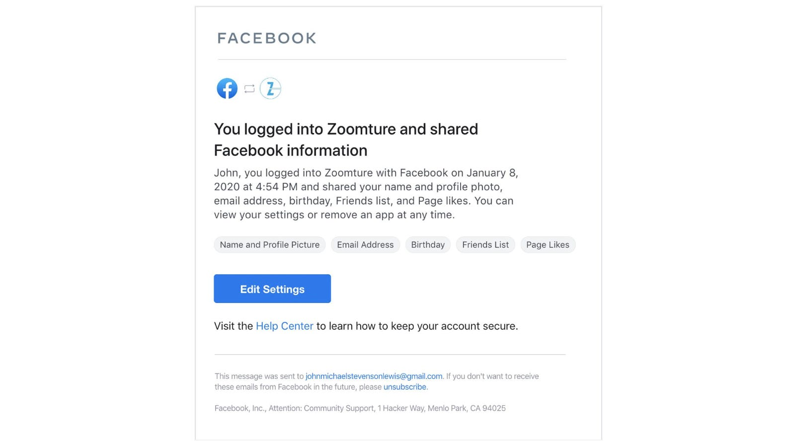 Sample notification from Facebook feature Login Notifications