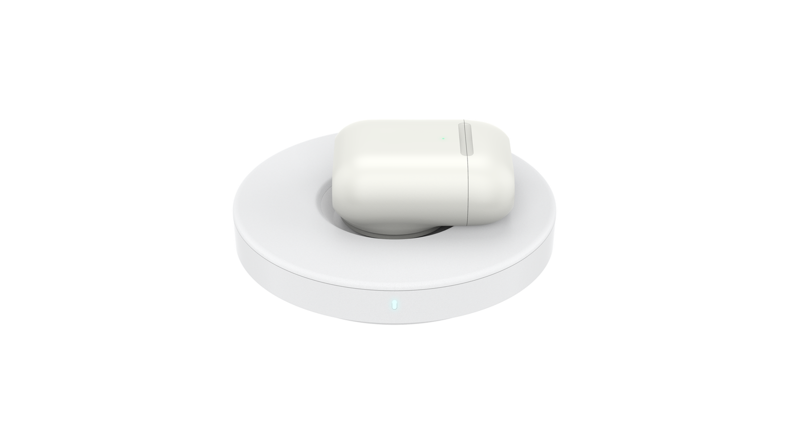 A PopSocket charger with an Airpod case and PopGrip attached on the charger, in the cavity.