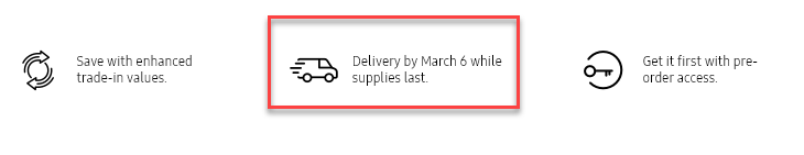 A closeup of the Samsung registration page, with a box around a delivery date mentioning March 6th.