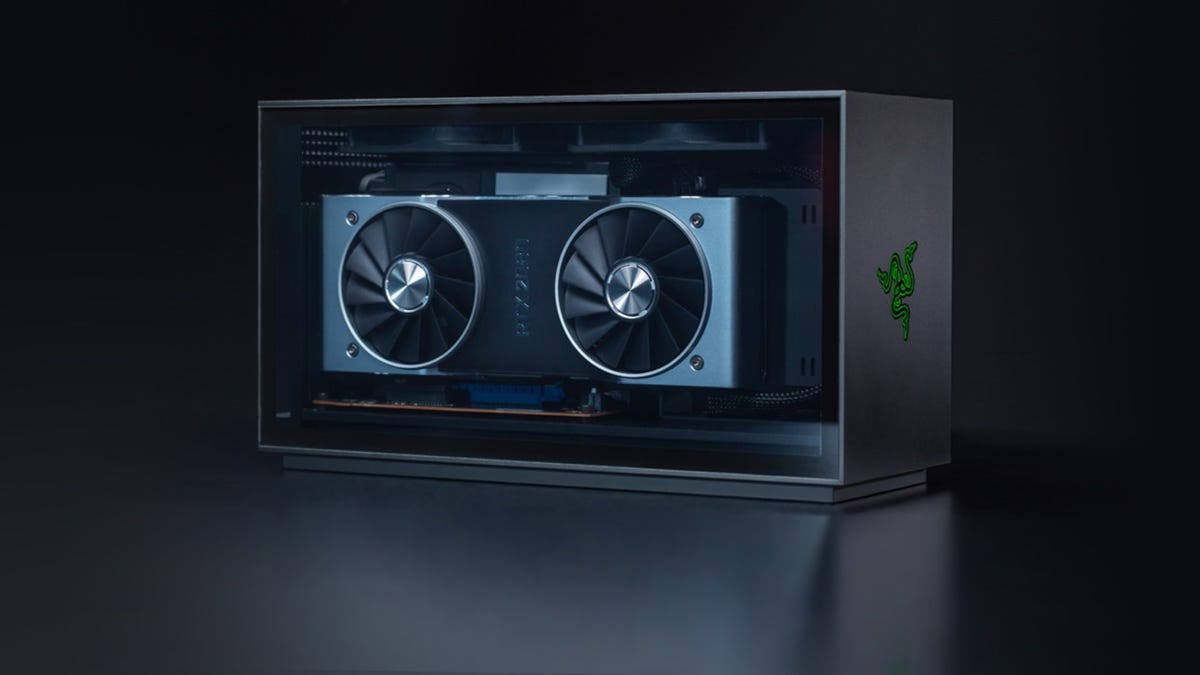 Front view of the Razer Tomahawk gaming PC