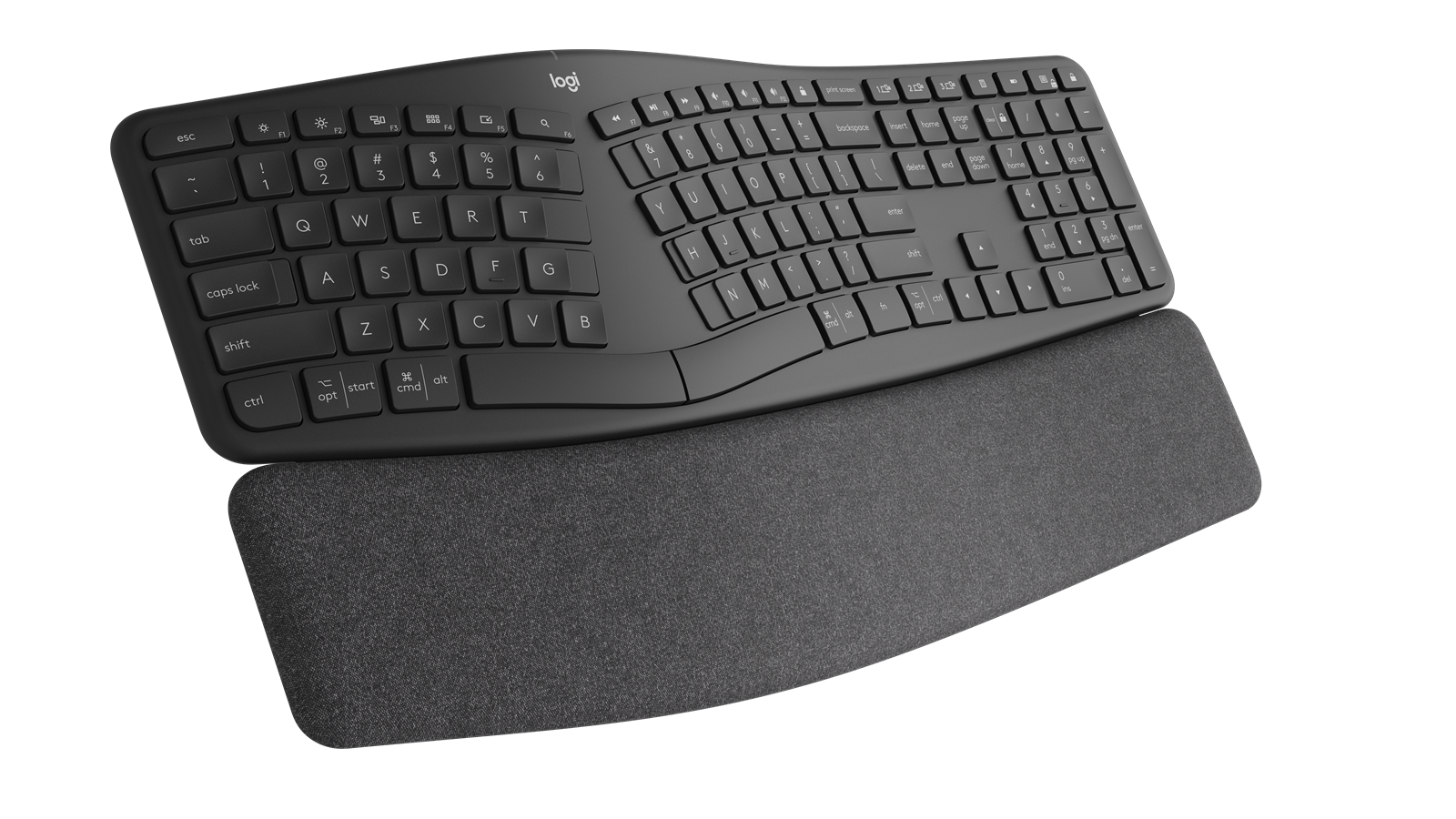 A topdown view of the ERGO k860, showing a large wrist bar.