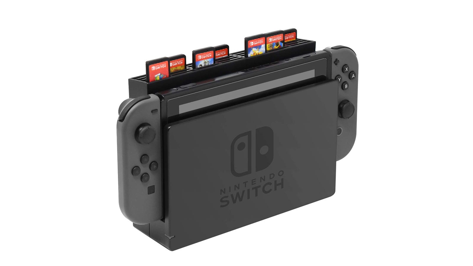 The FYOUNG Game Card Storage for Nintendo Switch holding seven game cartridges.