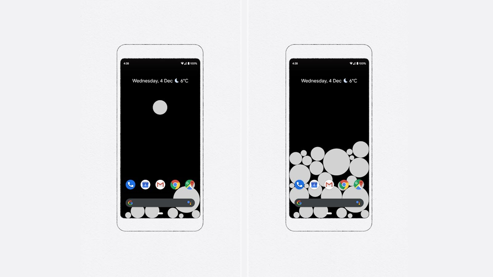 Two phones with varying amounts of multi-sized bubbles filling the home pag.e