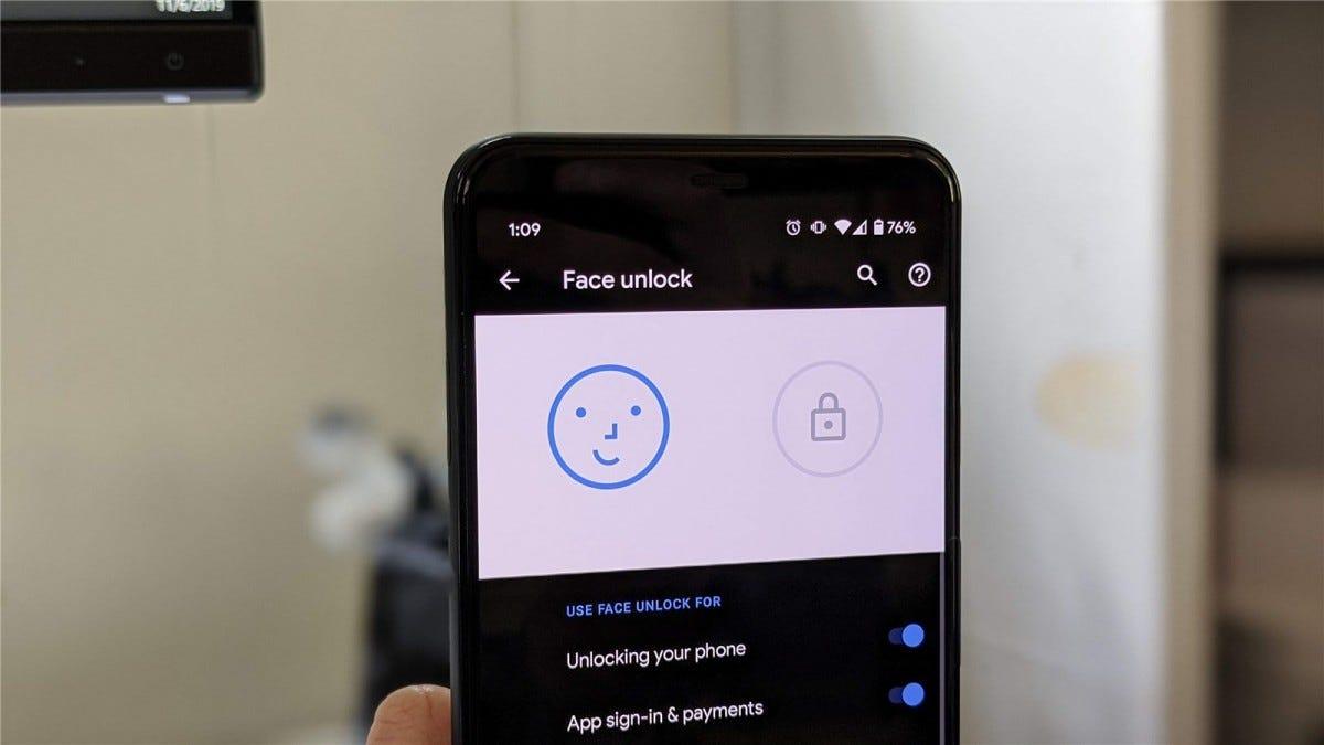 Face Unlock on the Pixel 4.