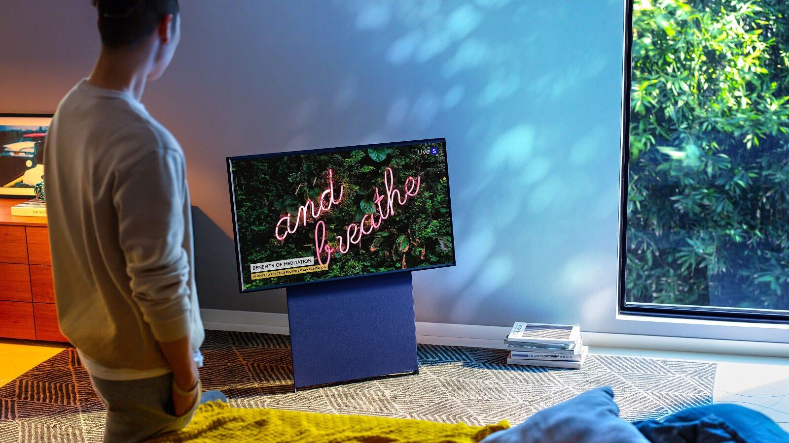 Samsung Sero TV shown horizontally