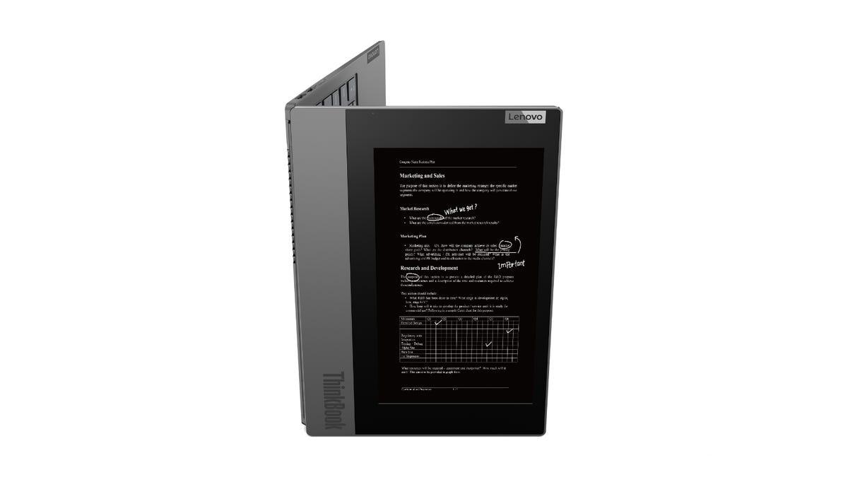 Lenovo ThinkBook Plus showing the eink display