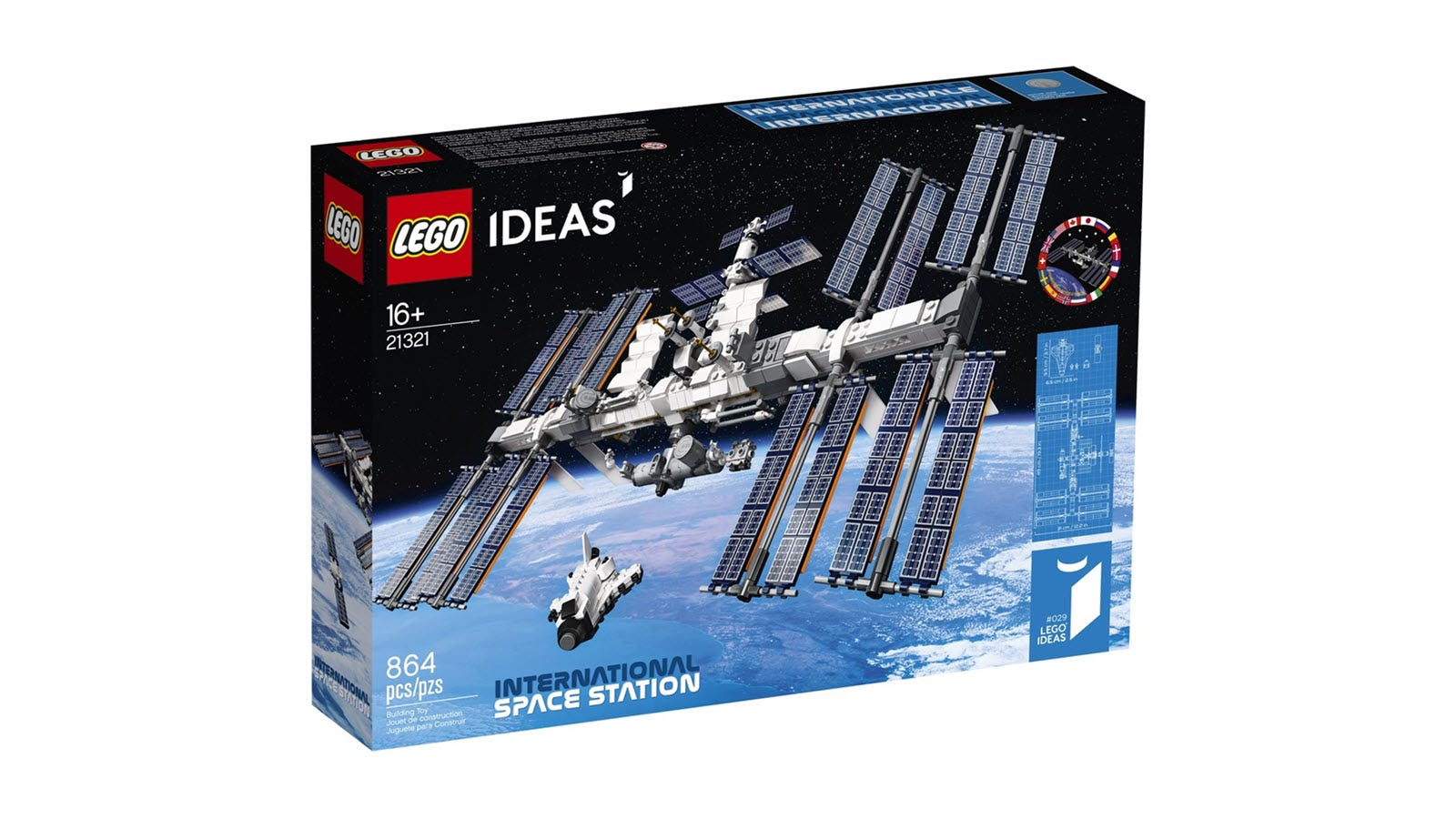 The LEGO ISS box, featuring the space station over an image of Earth