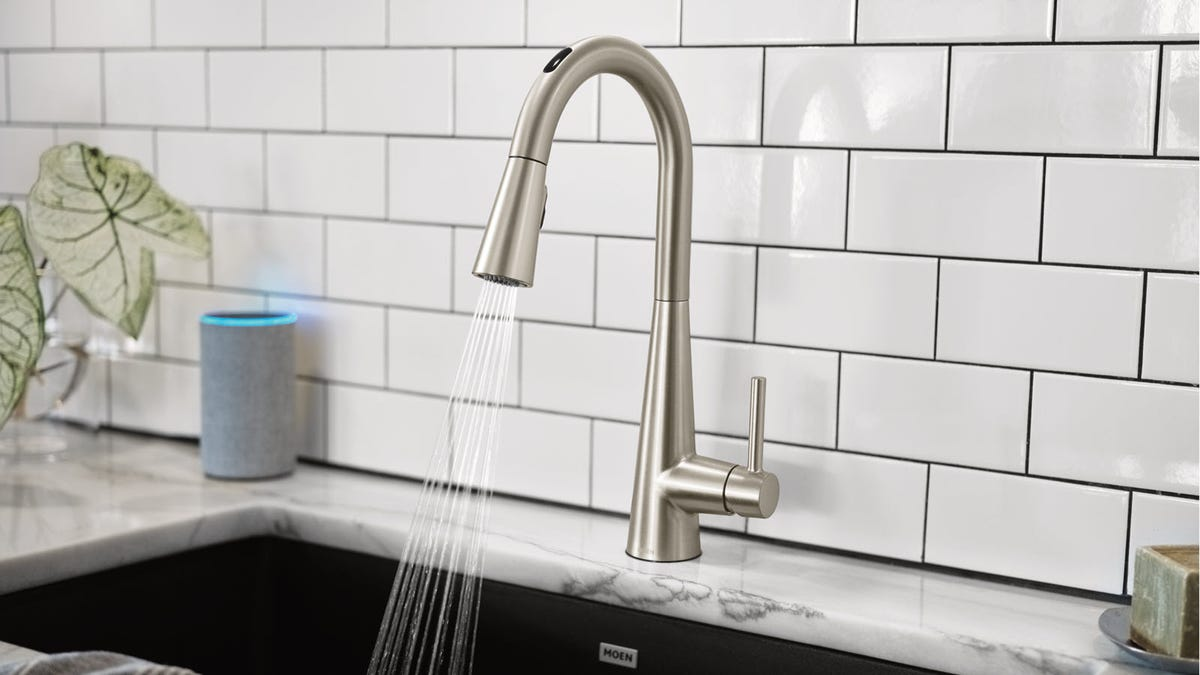 A U by Moen Smart Faucet next to an Amazon Echo with Blue Light Ring